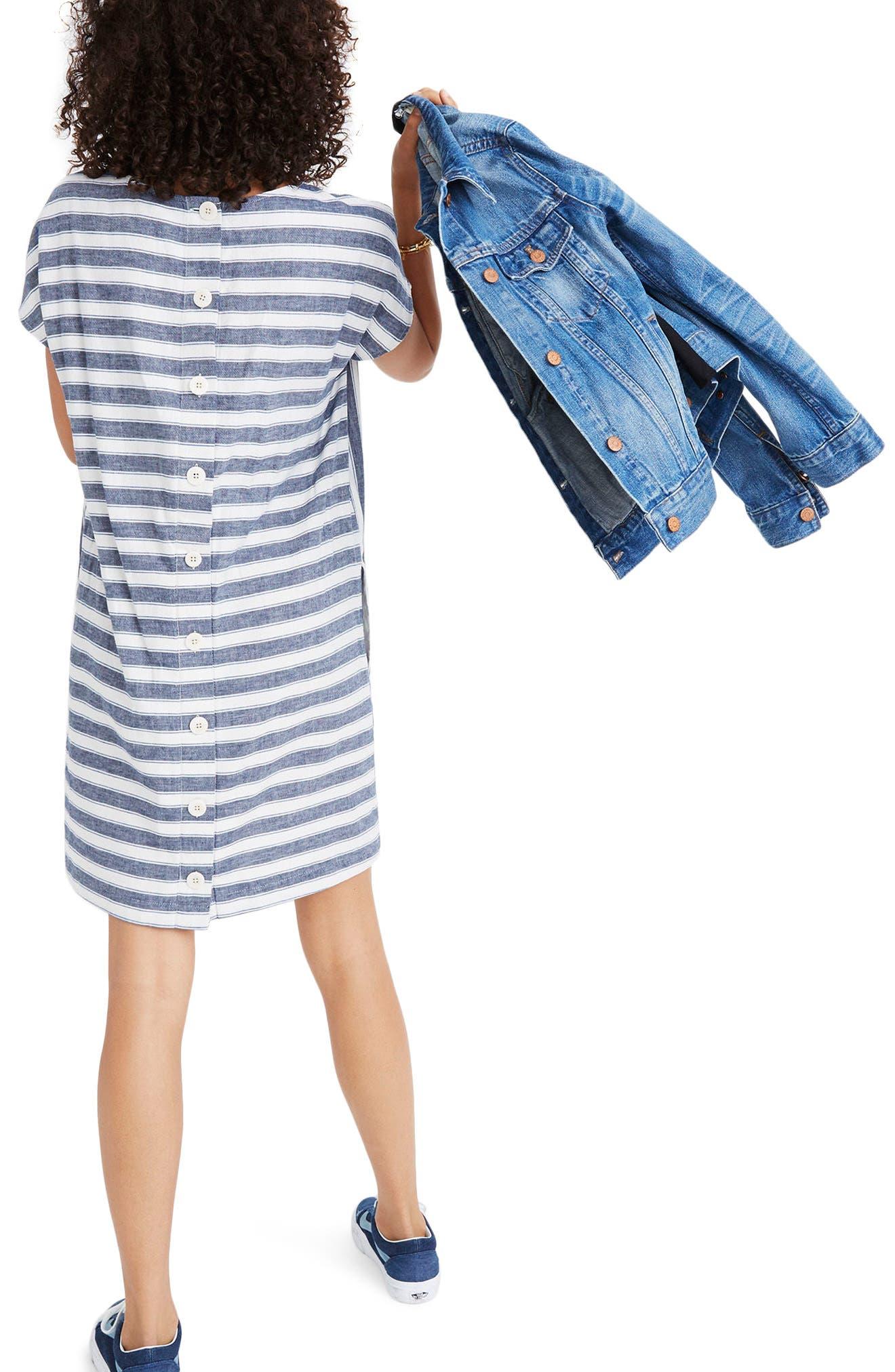 Stripe Play Button Back Dress,                             Alternate thumbnail 2, color,                             Transatlantic Blue