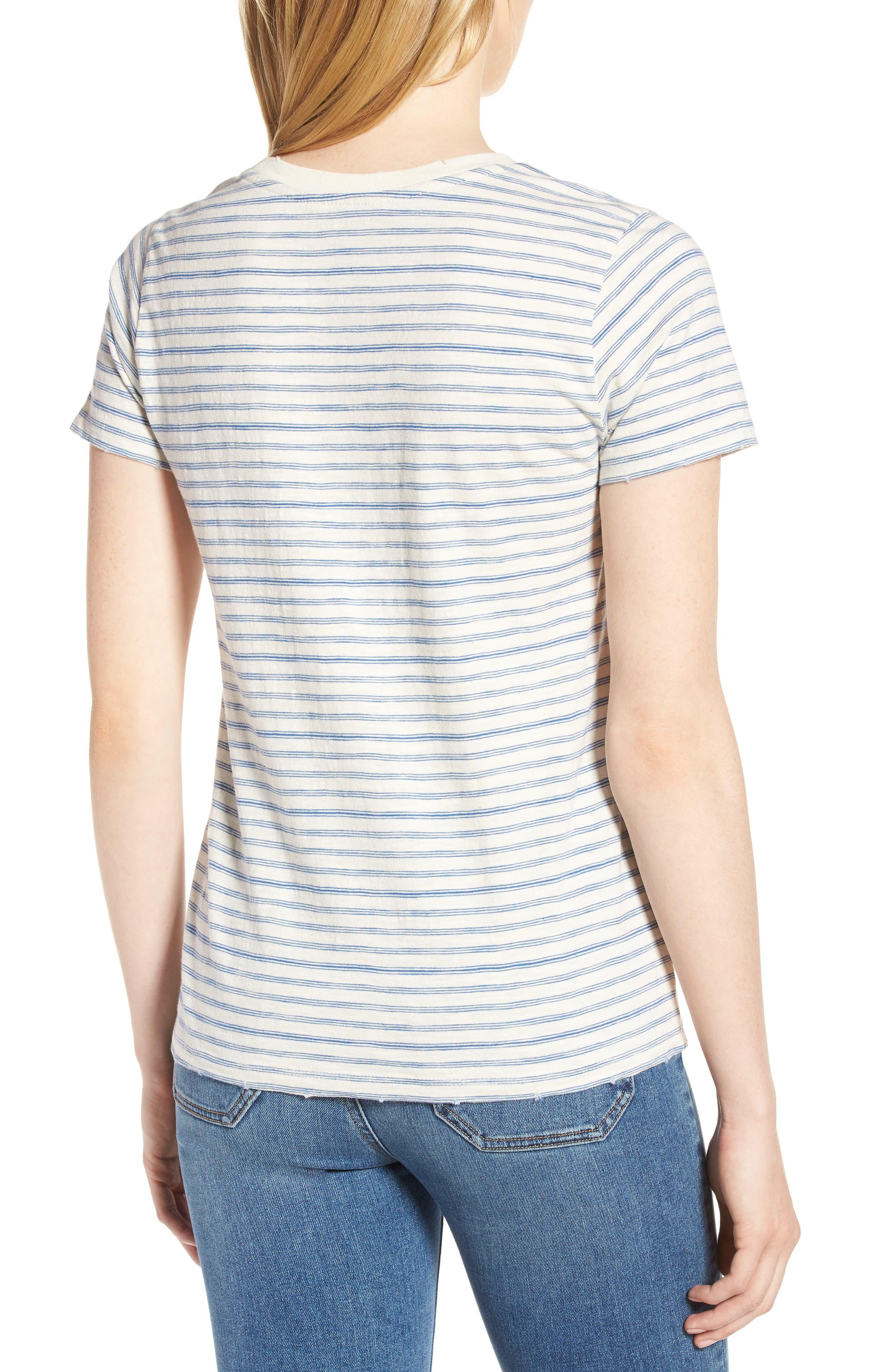 Lace-Up Shoulder Stripe Tee,                             Alternate thumbnail 2, color,                             Blue Multi