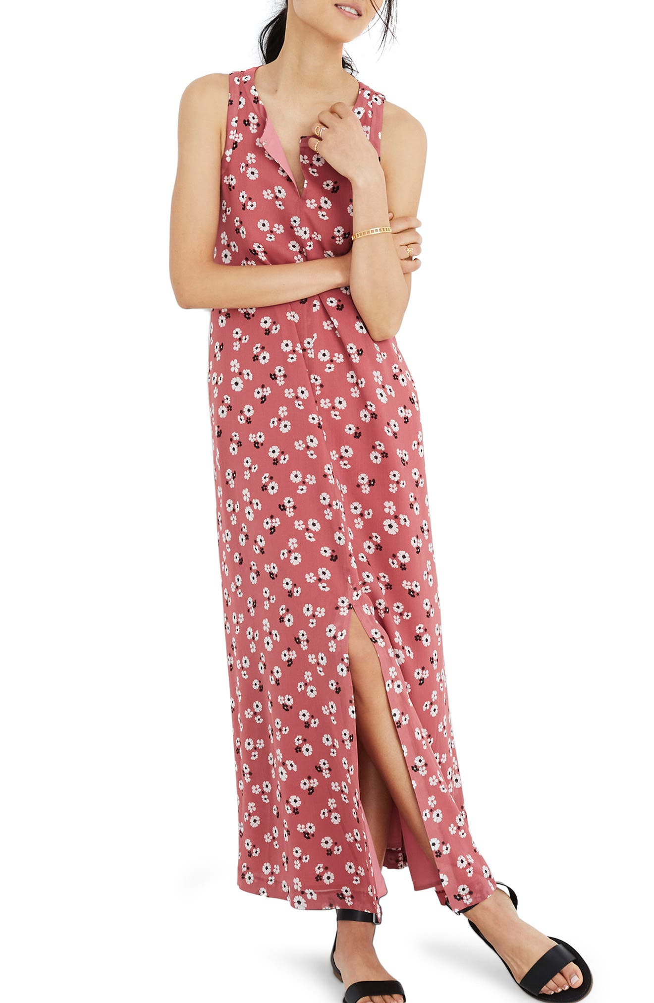 Daisy Tie Waist Maxi Dress,                             Main thumbnail 1, color,                             Autumn Berry