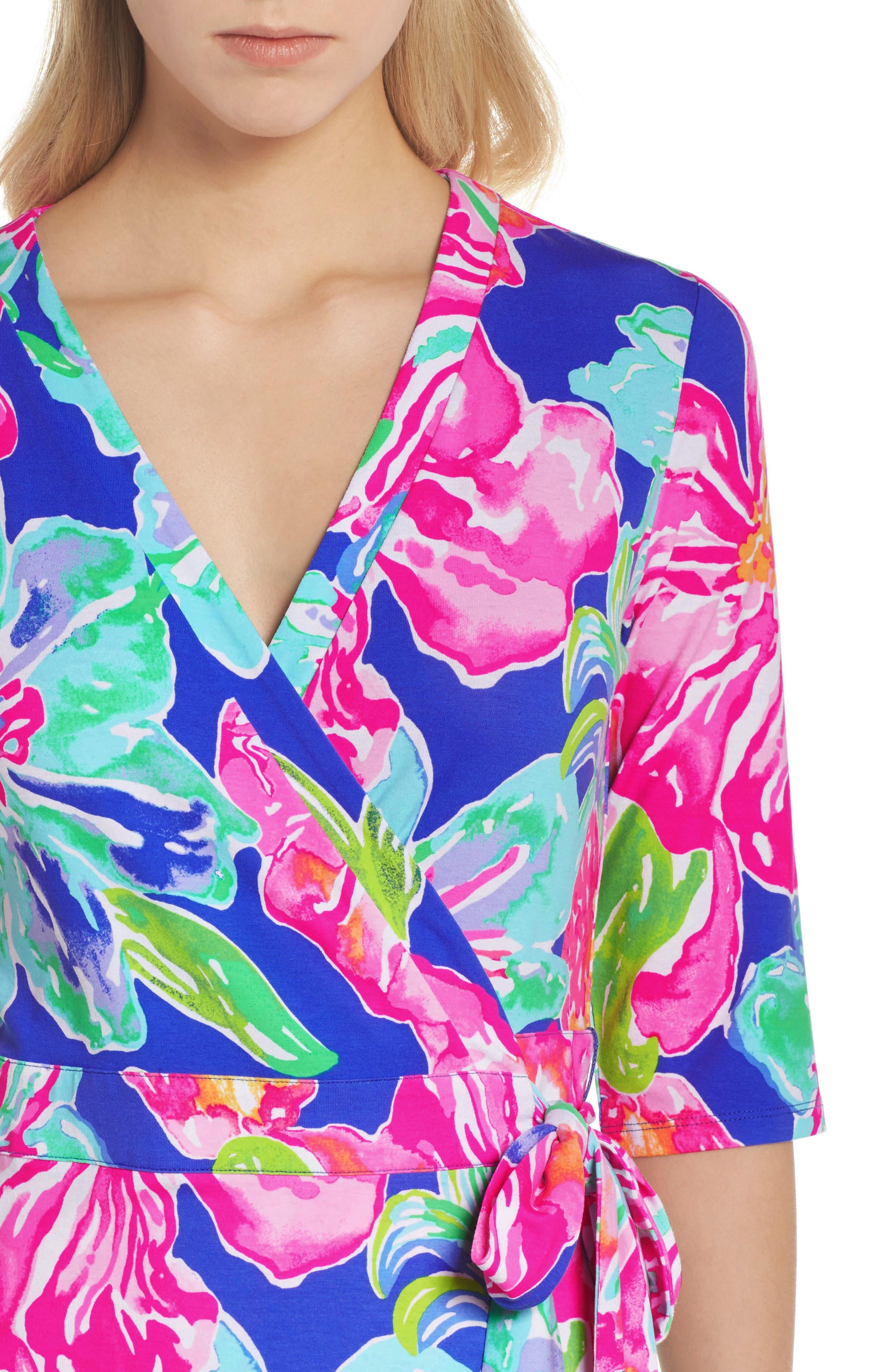 Marvista Wrap Dress,                             Alternate thumbnail 4, color,                             Beckon Blue Jungle Utopia