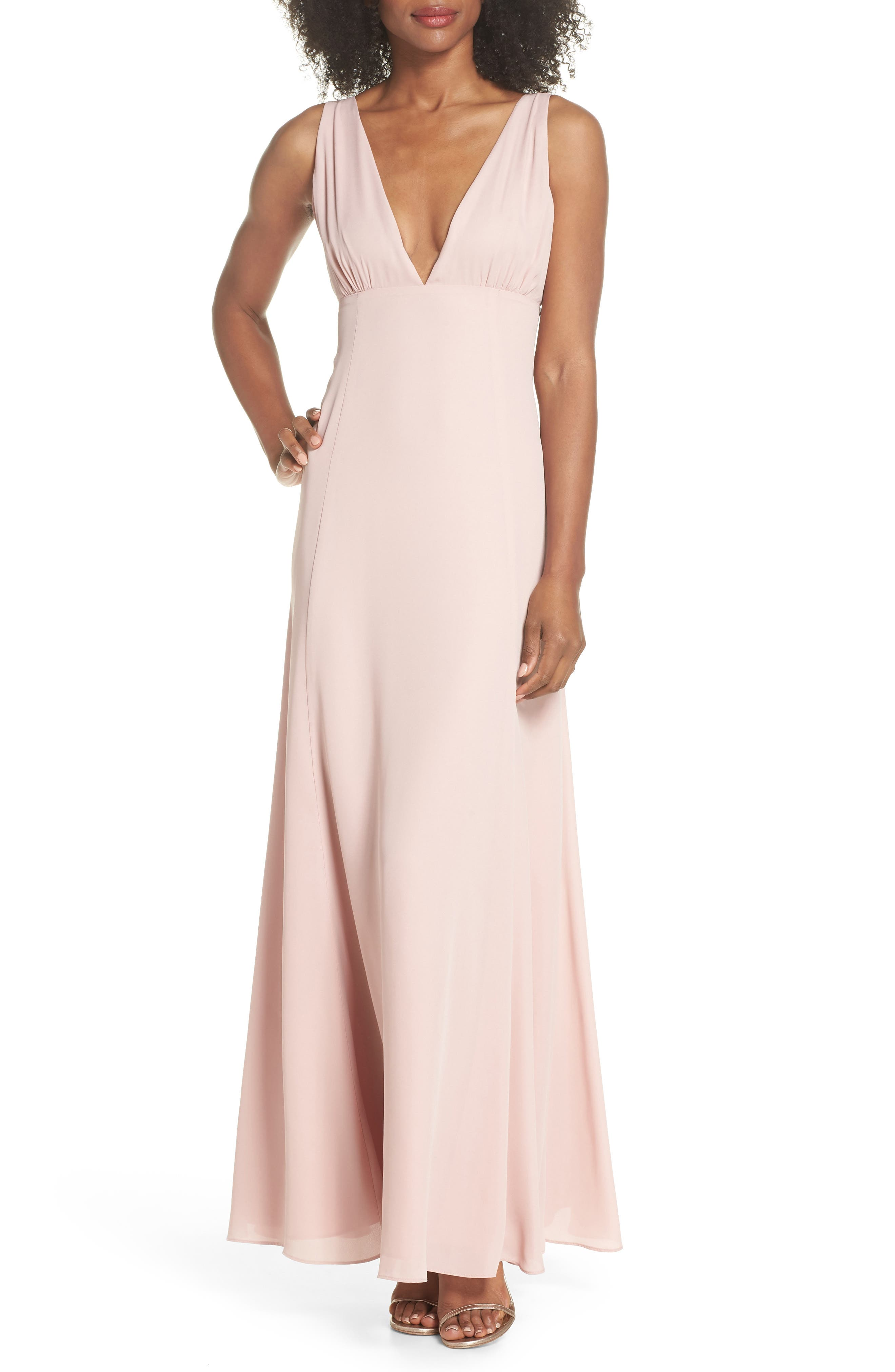 The Kiara Empire Plunge Neck Gown,                         Main,                         color, Rose