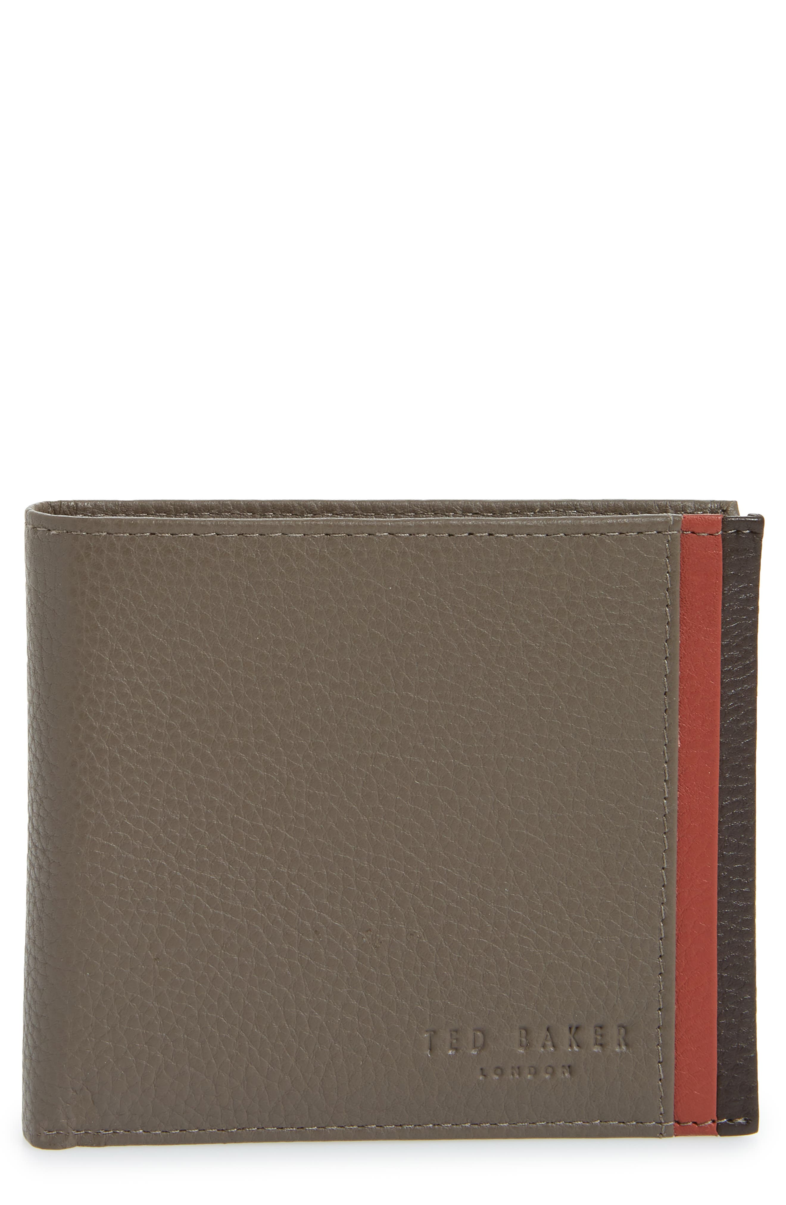 Snapper Colored Leather Wallet,                             Main thumbnail 1, color,                             Grey