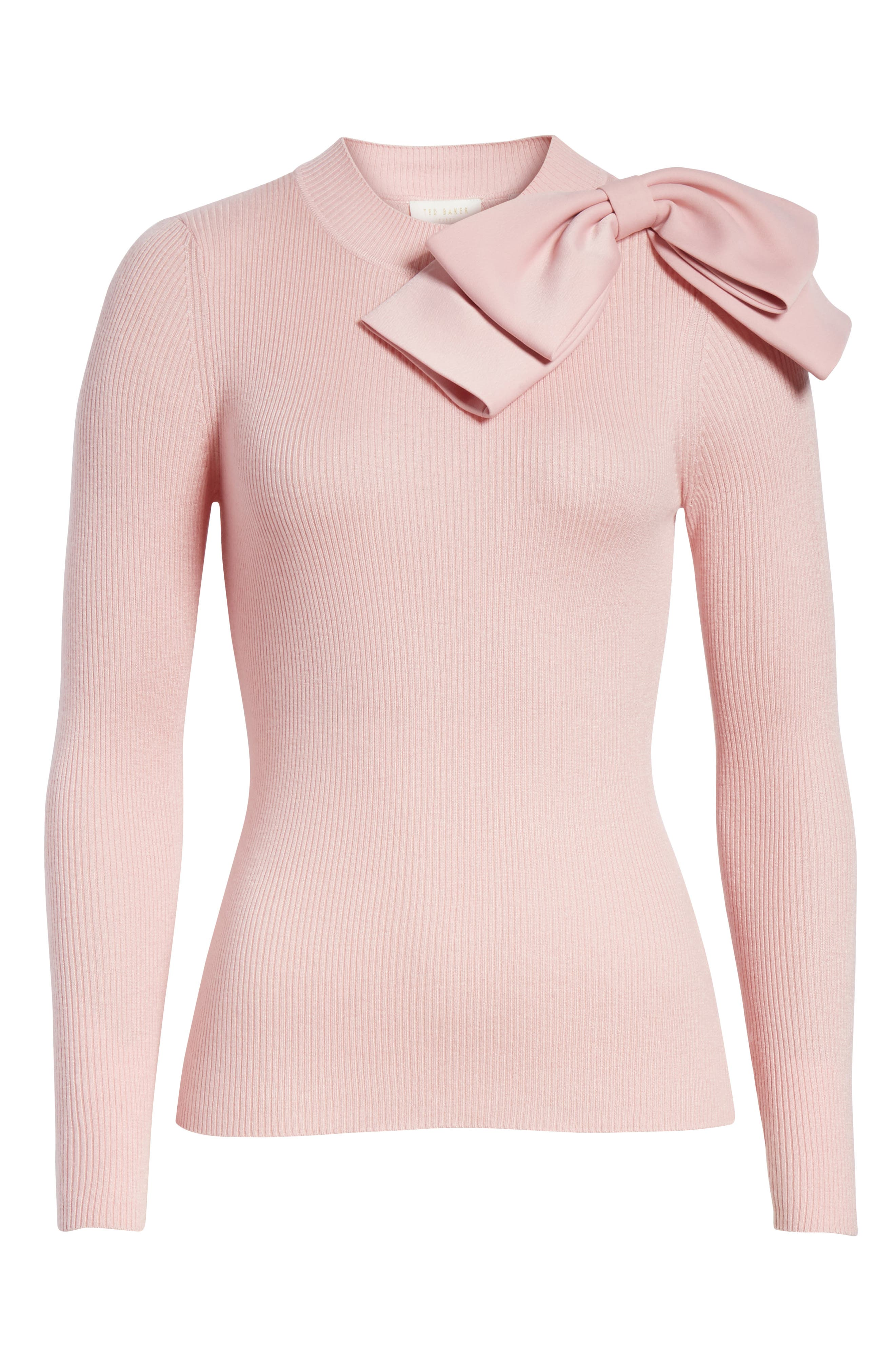 Bow Detail Ribbed Sweater,                             Alternate thumbnail 6, color,                             Dusky Pink