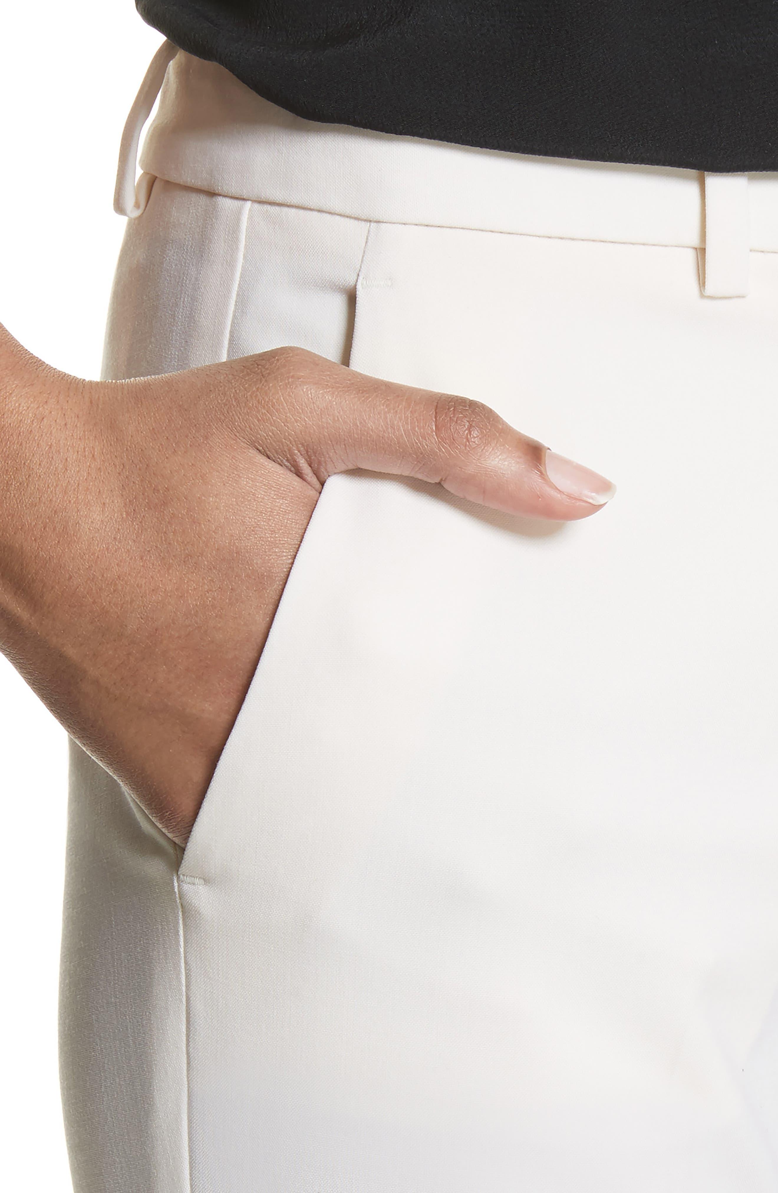 Demitria Polished Wool Pants,                             Alternate thumbnail 4, color,                             White
