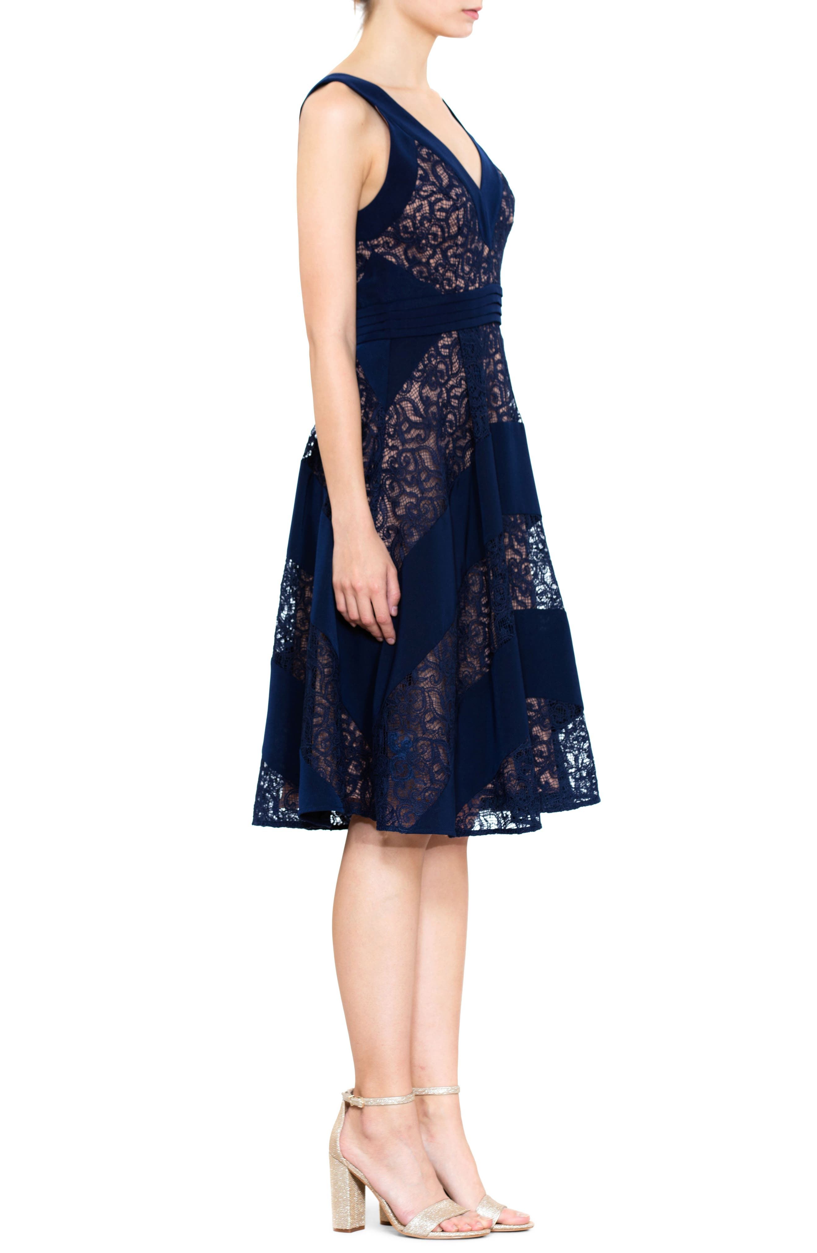 Mixed Lace Fit & Flare Dress,                             Alternate thumbnail 3, color,                             Navy