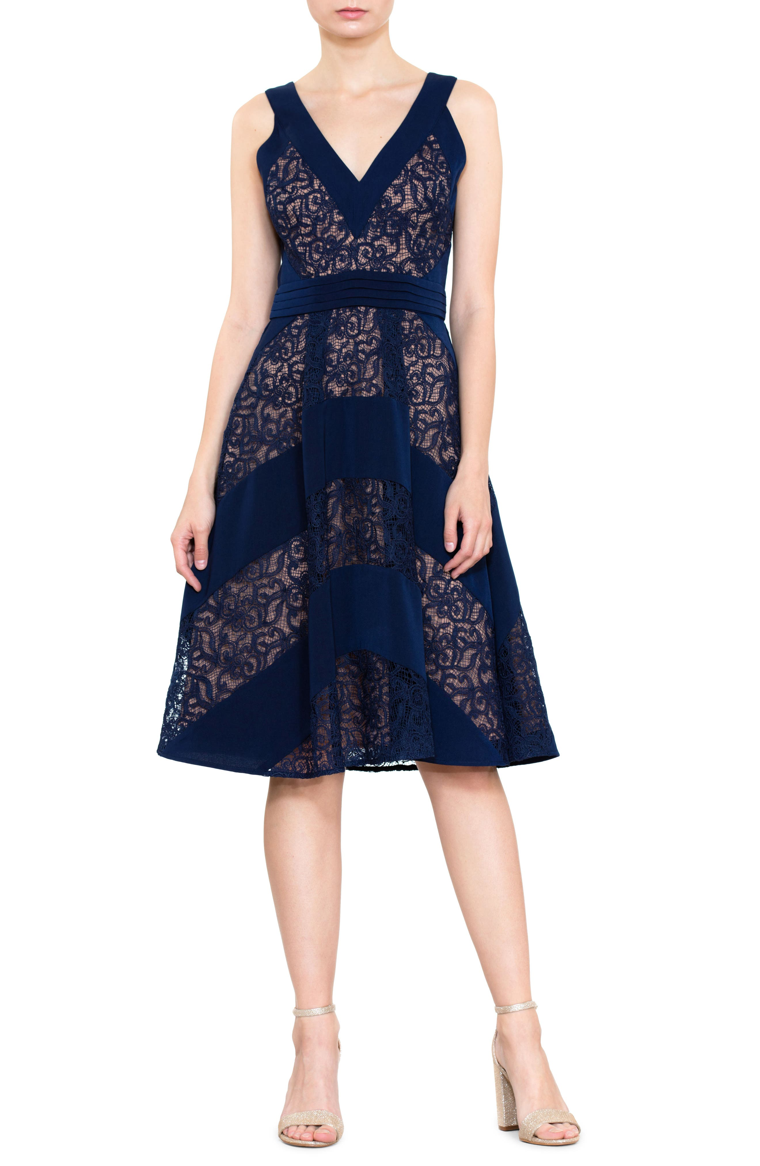 Mixed Lace Fit & Flare Dress,                         Main,                         color, Navy