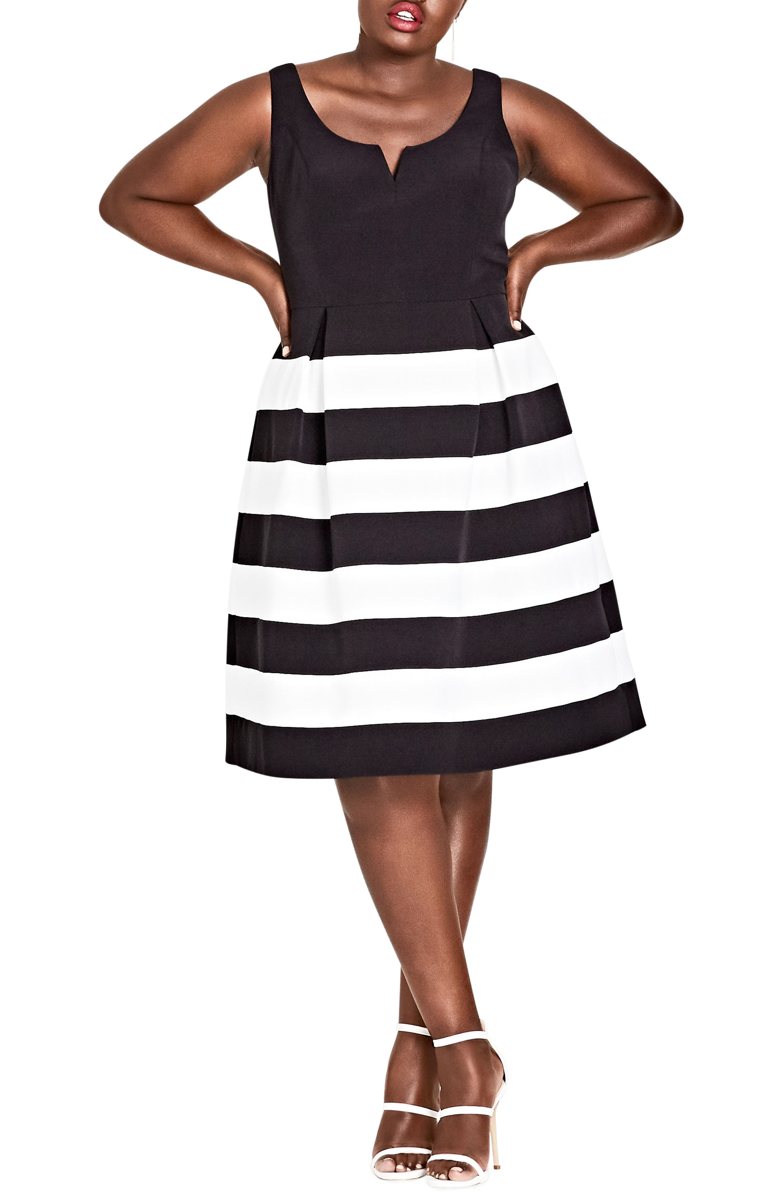 Alternate Image 1 Selected - City Chic Fair Lady Fit & Flare Dress (Plus Size)
