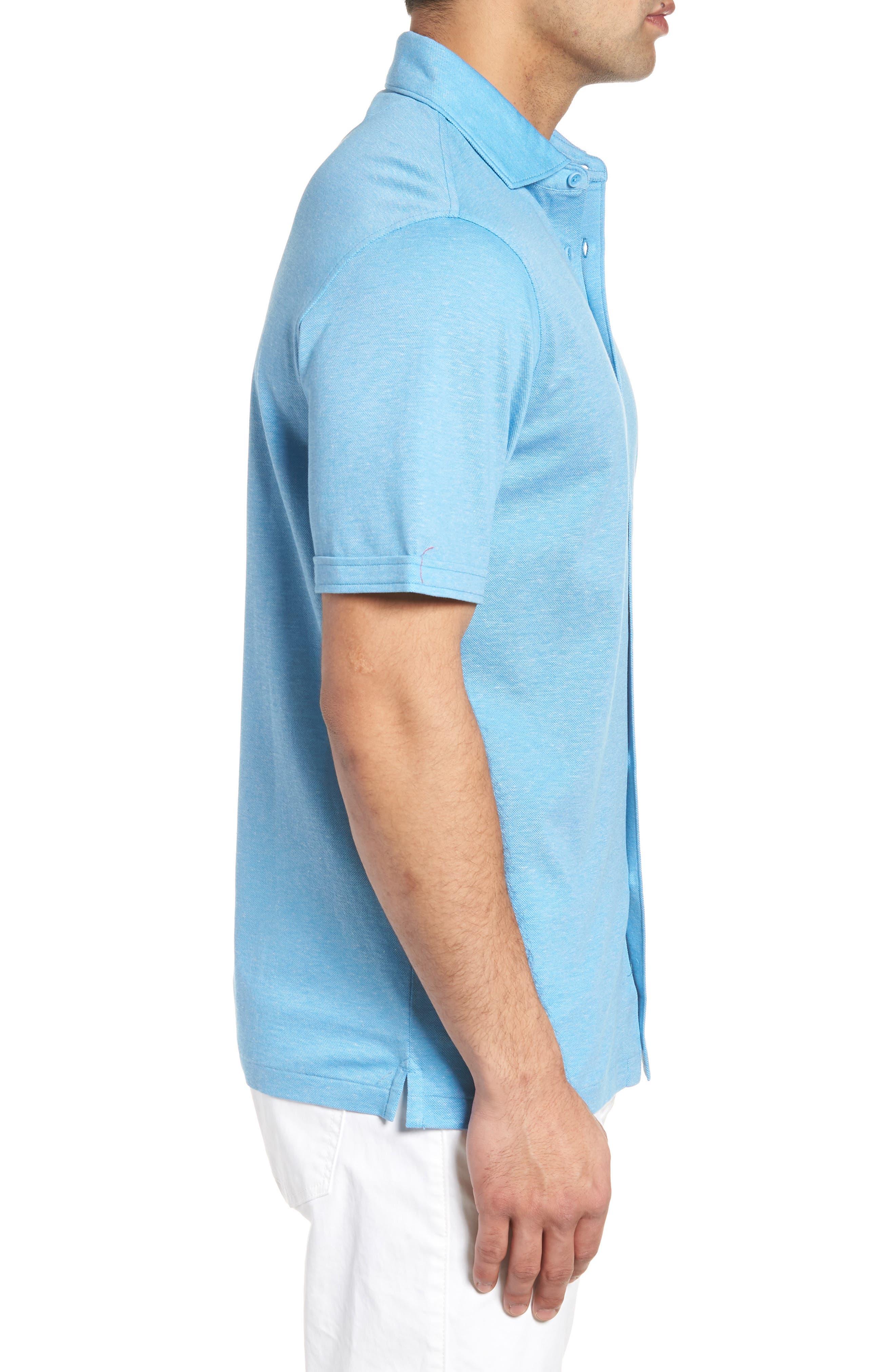 Regular Fit Heather Knit Sport Shirt,                             Alternate thumbnail 4, color,                             Air Blue