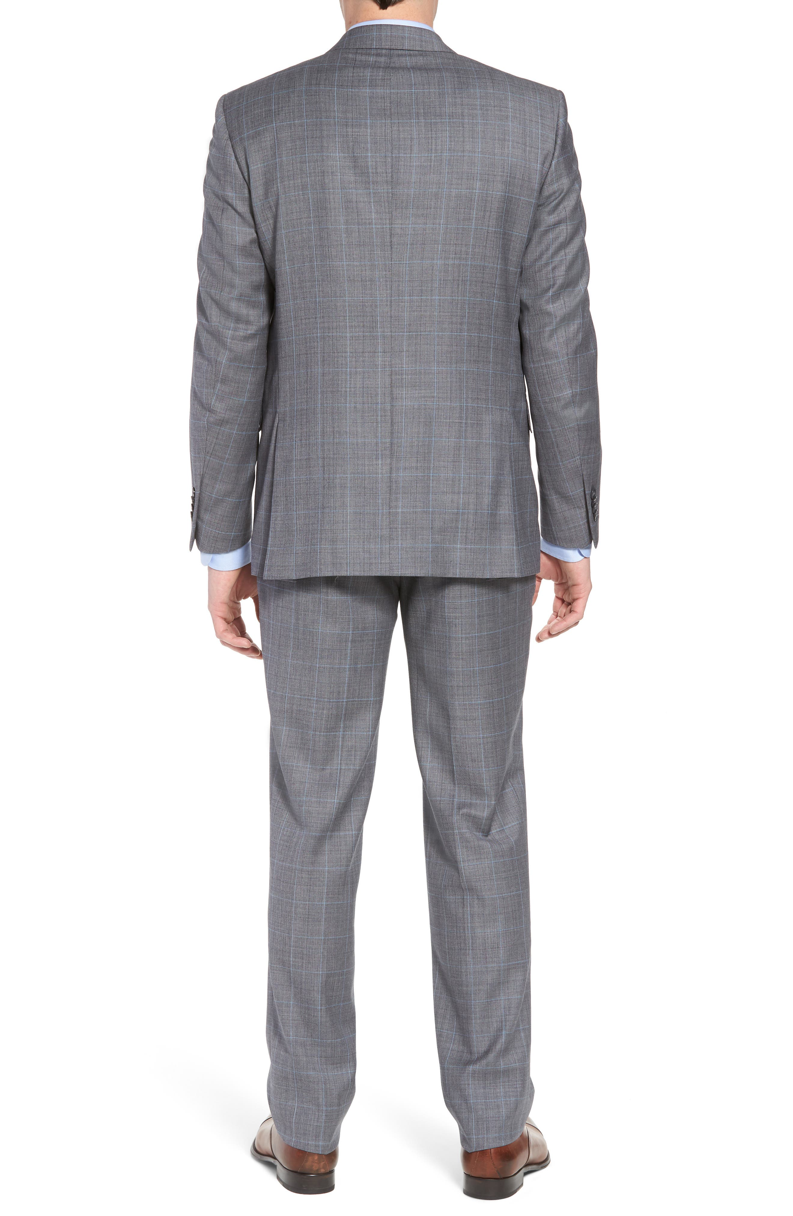 Classic Fit Windowpane Wool Suit,                             Alternate thumbnail 2, color,                             Grey