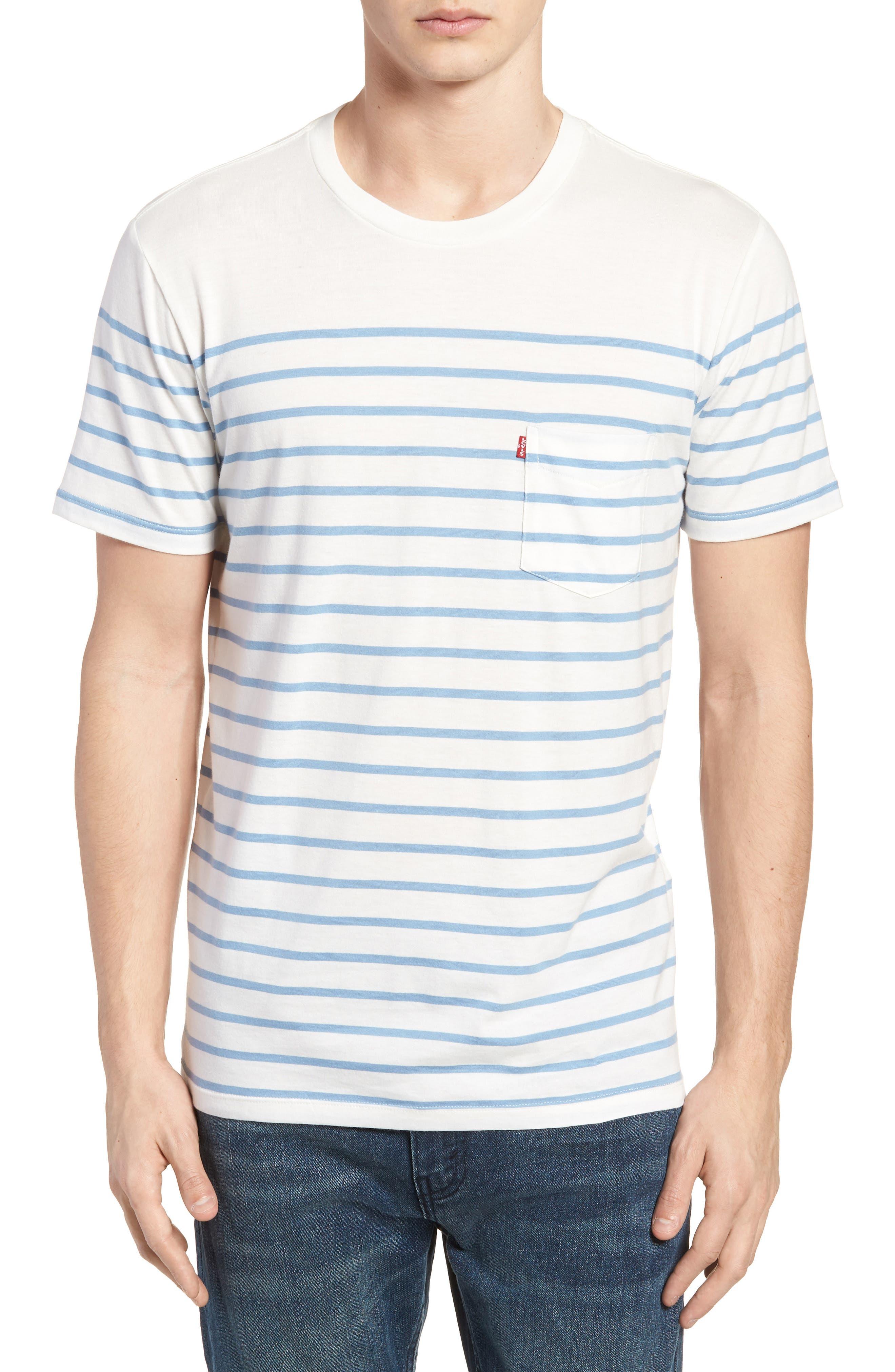 Sunset Pocket T-Shirt,                             Main thumbnail 1, color,                             Stripe Marshmallow / Allure
