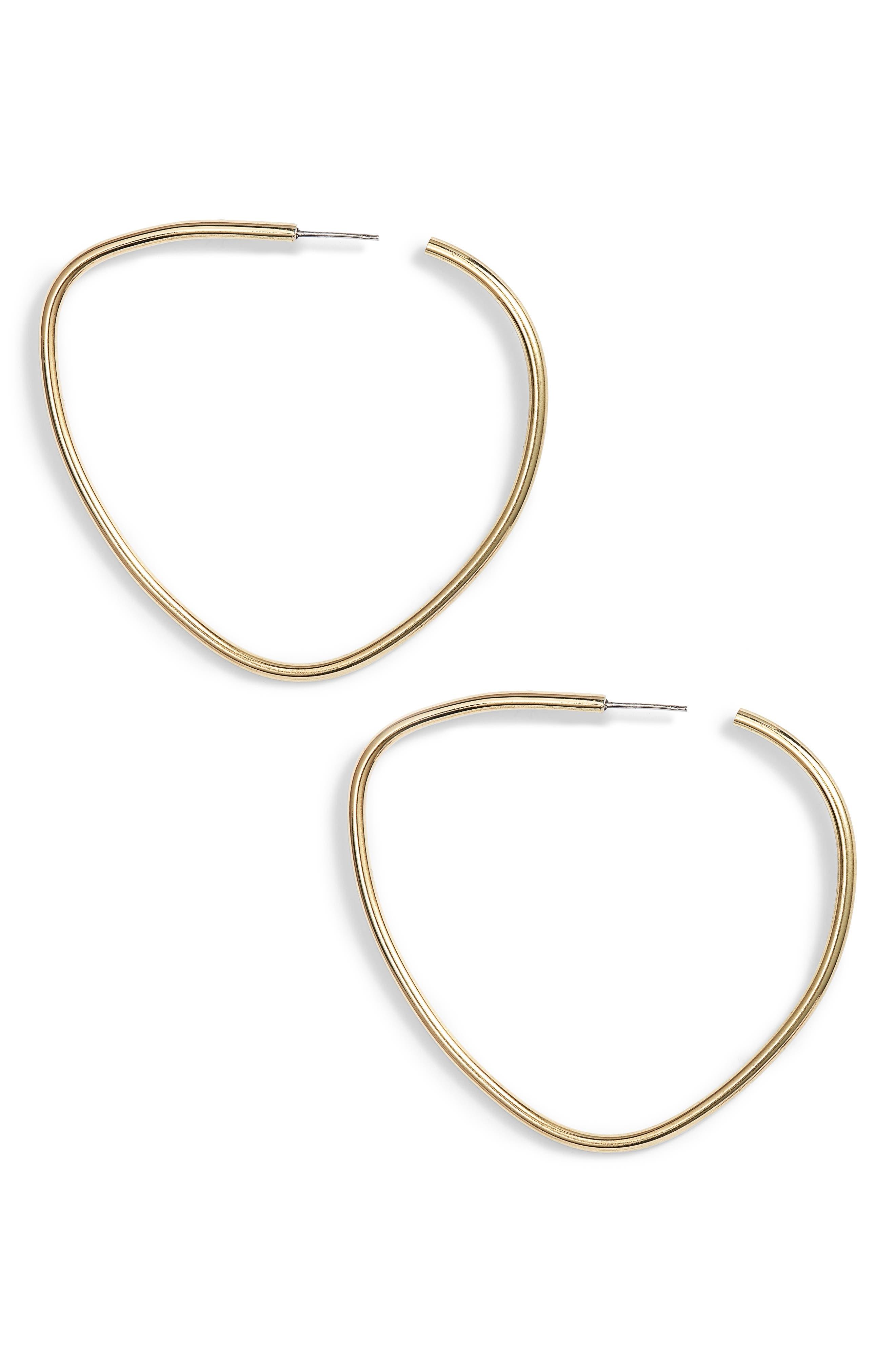 Maxi Sabi Organic Hoop Earrings,                         Main,                         color, Brass