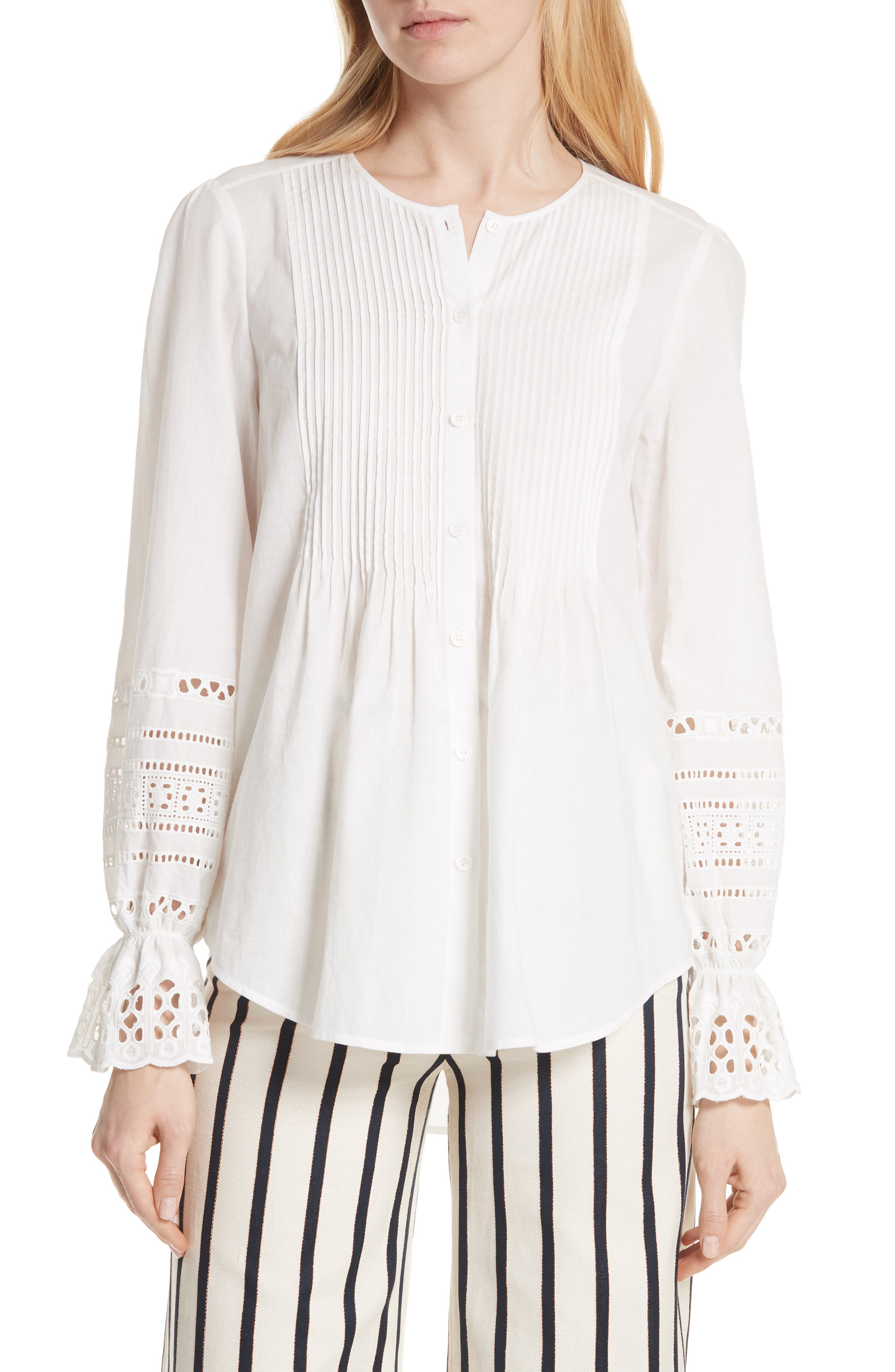Mili Eyelet Sleeve Top,                             Main thumbnail 1, color,                             White