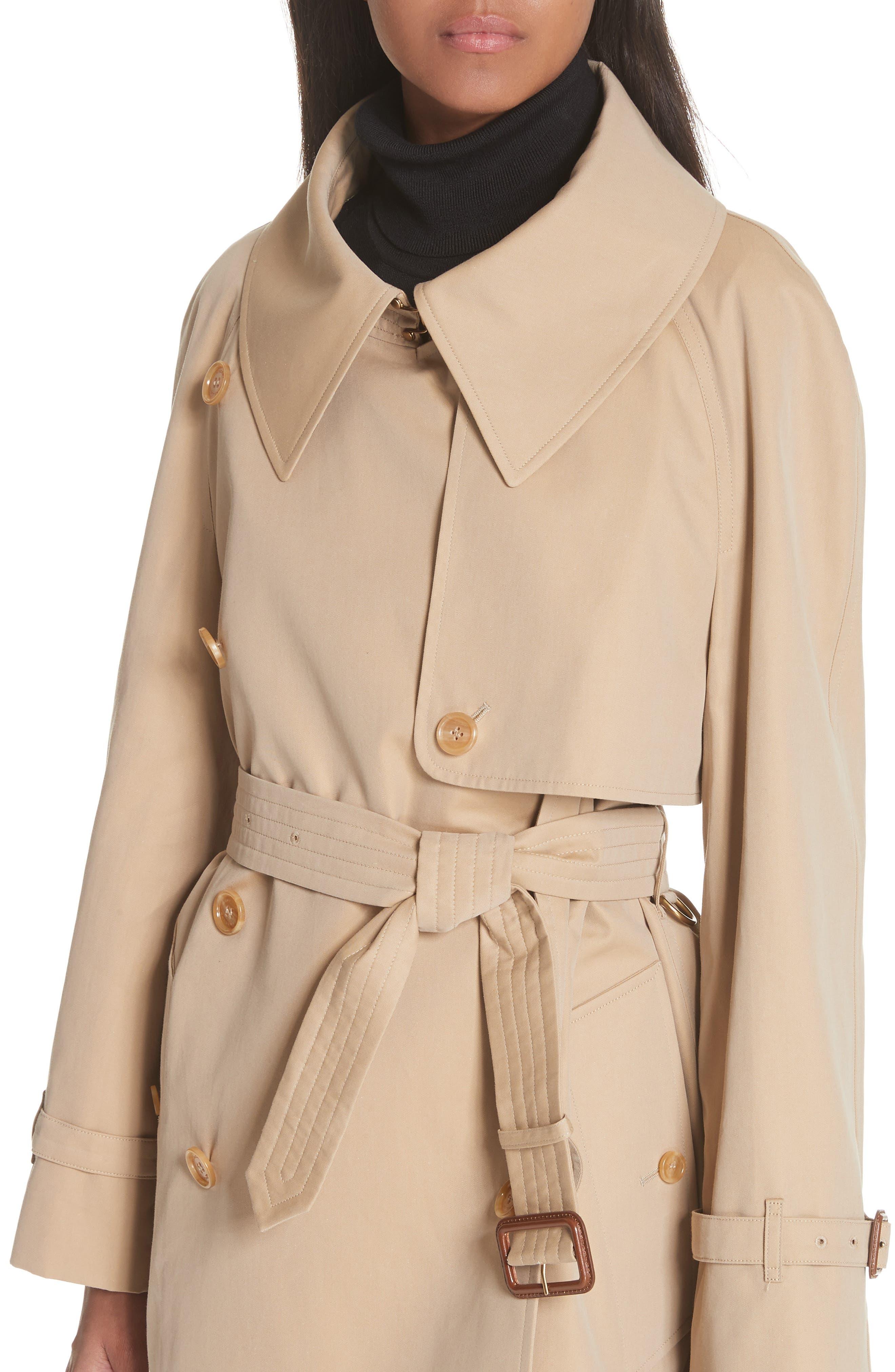 Fortingall Cotton Gabardine Trench Coat,                             Alternate thumbnail 4, color,                             Honey