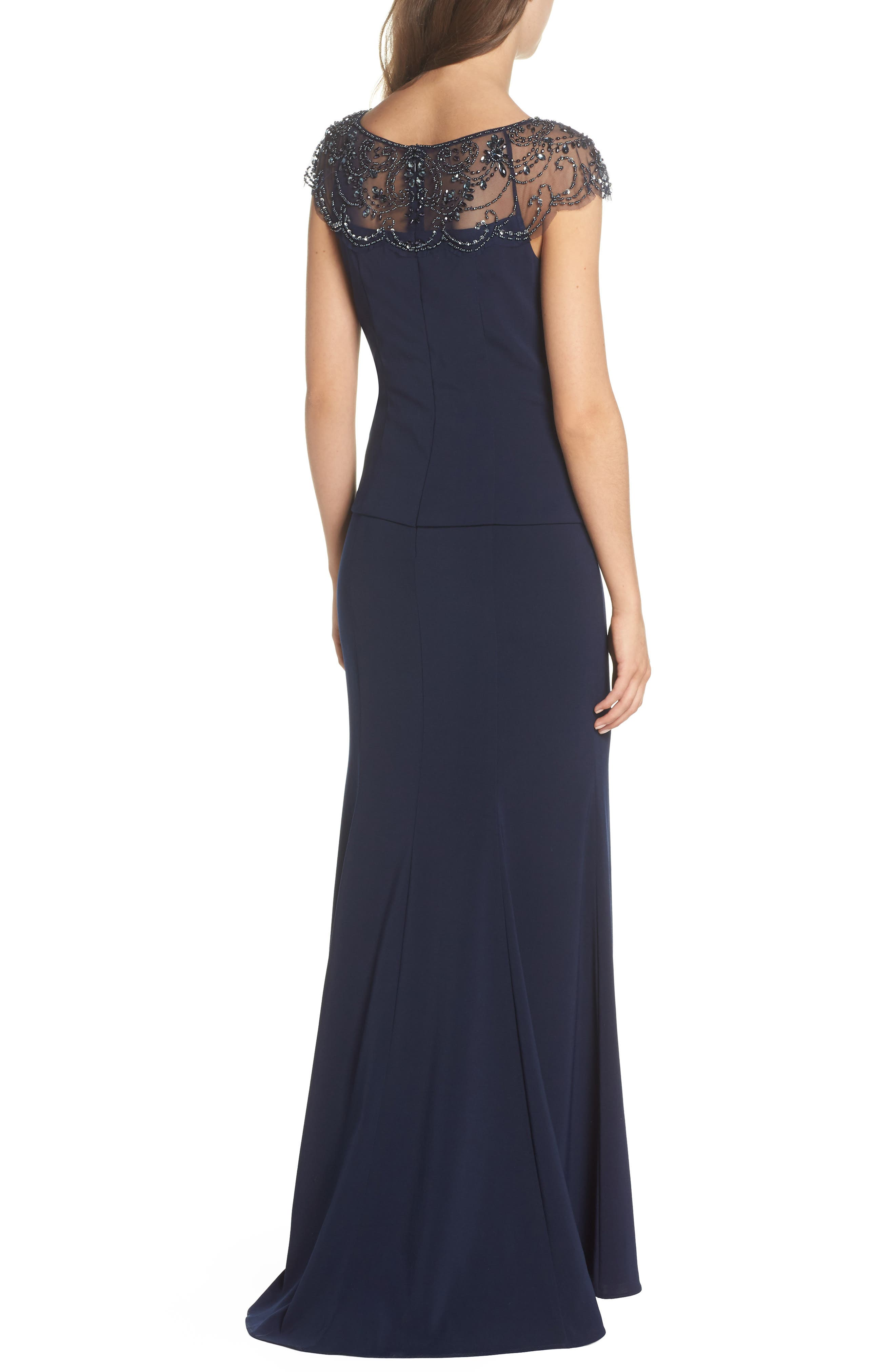 Beaded Crepe Trumpet Gown,                             Alternate thumbnail 2, color,                             Navy/ Navy