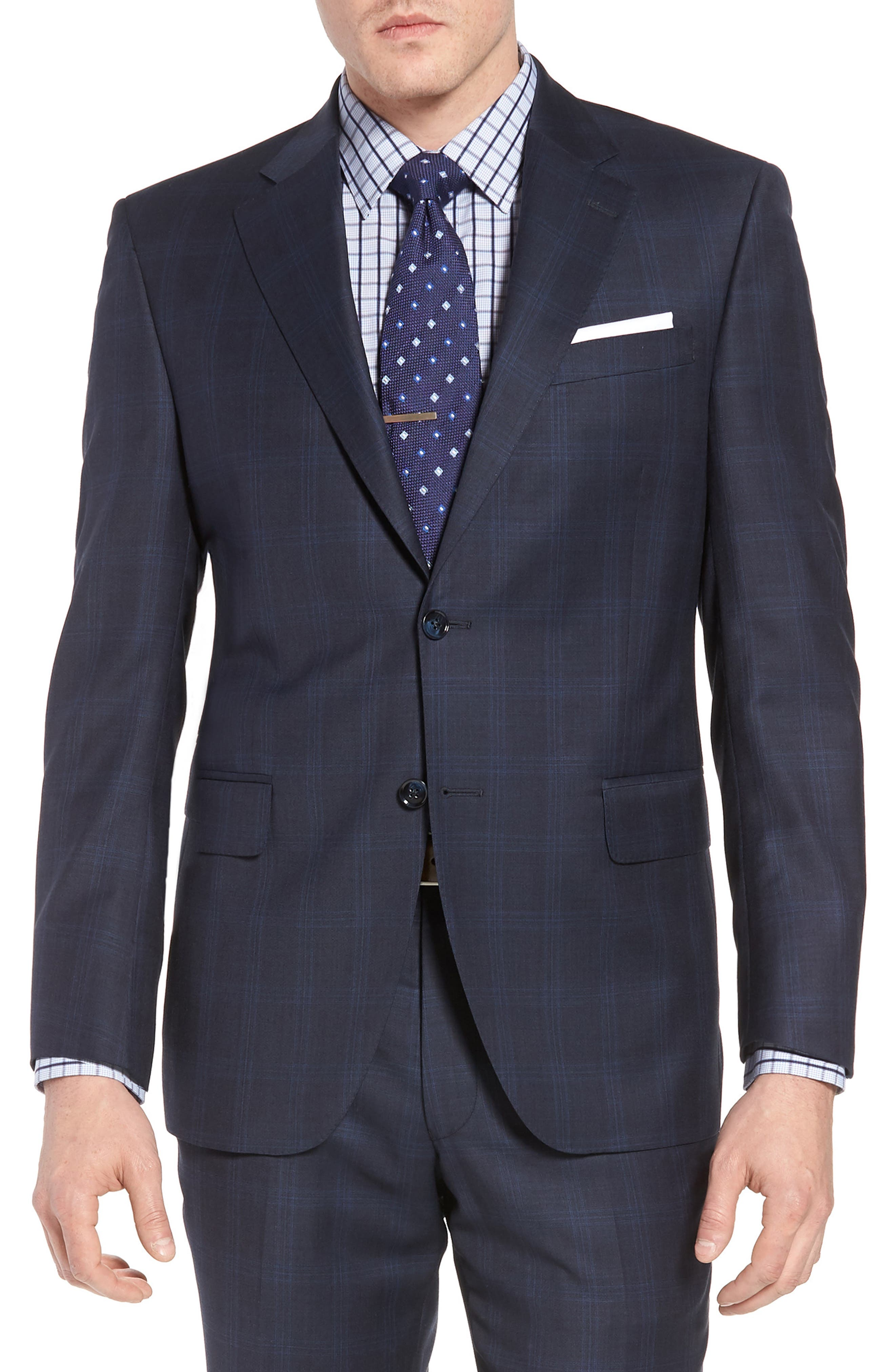 Classic Fit Plaid Wool Suit,                             Alternate thumbnail 5, color,                             Navy