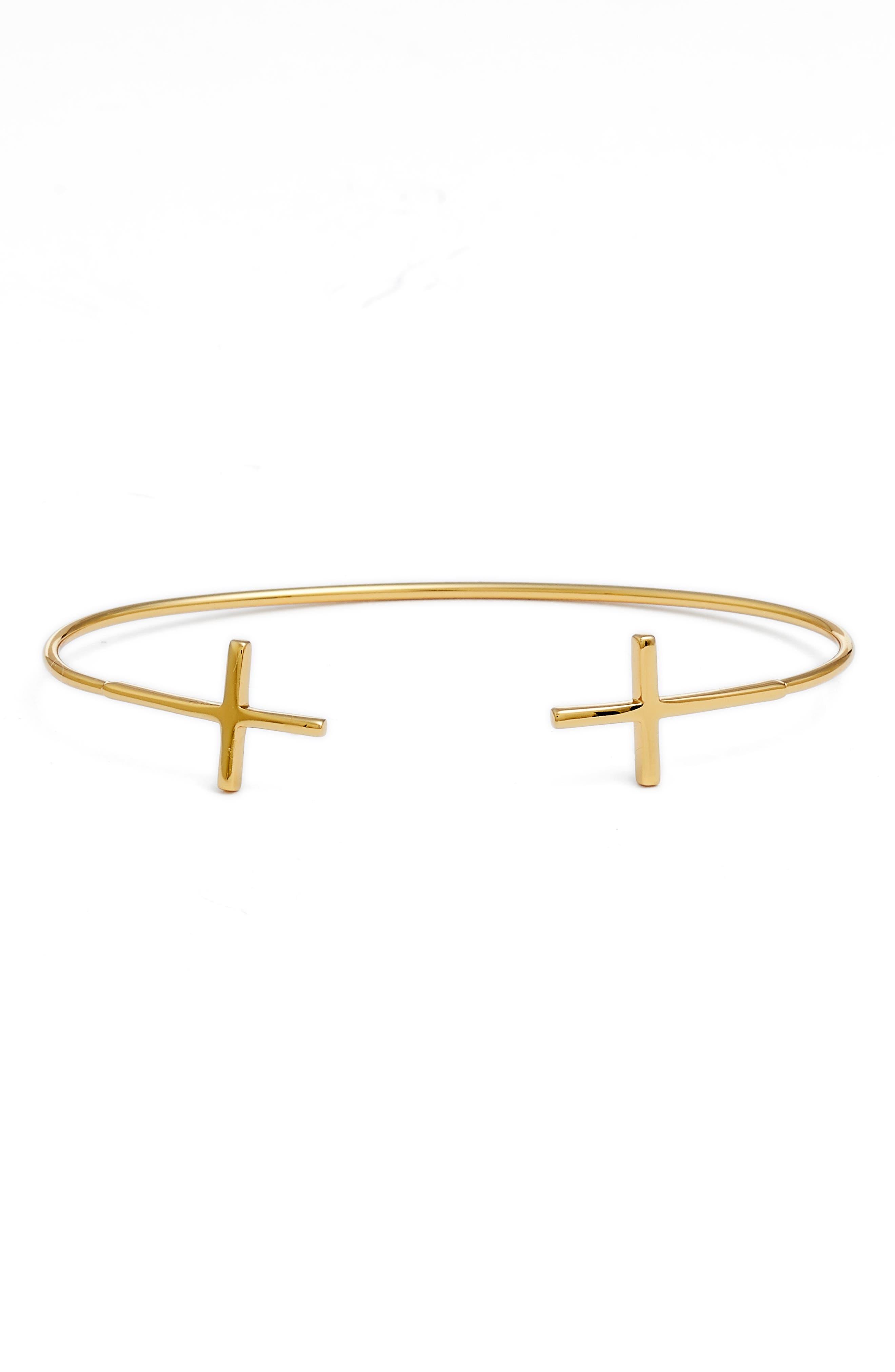 Cross Open Cuff Bracelet,                         Main,                         color, Gold