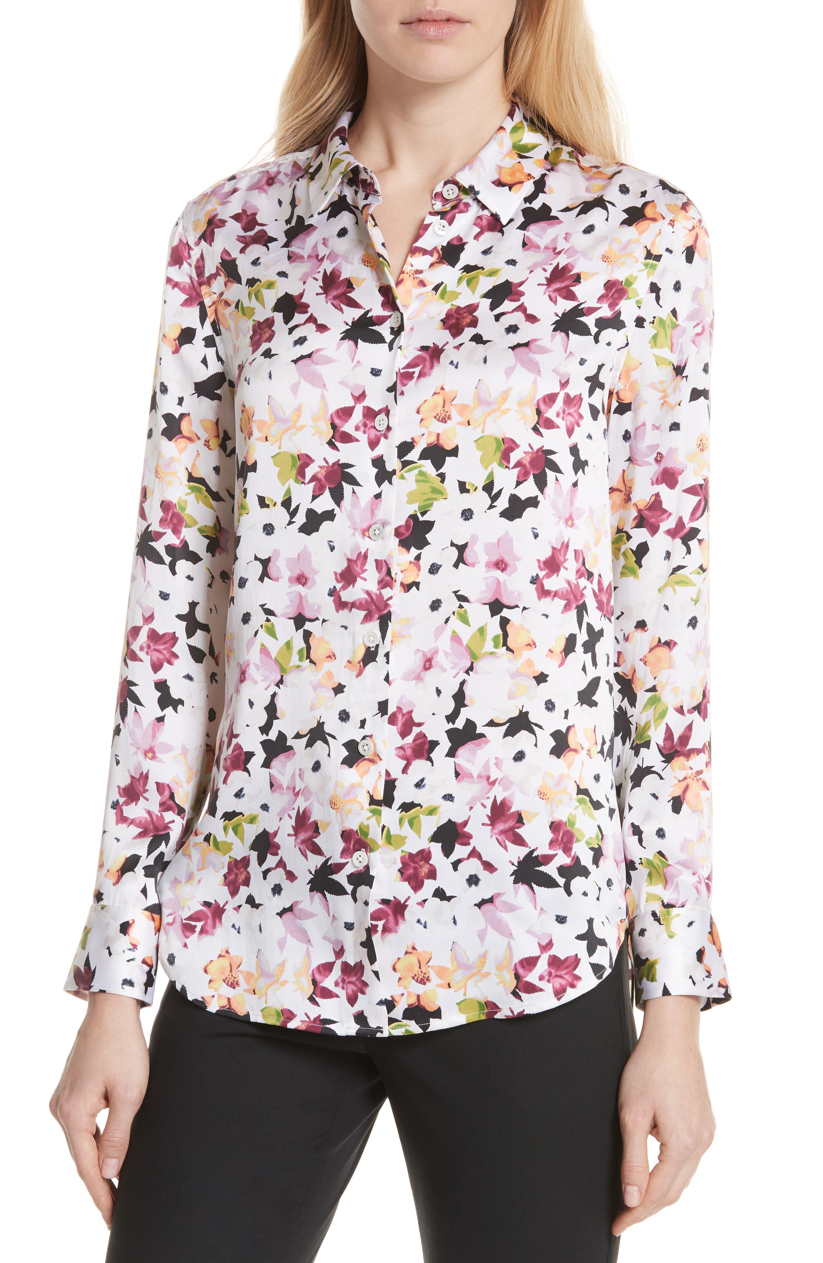 Essential Floral Silk Shirt,                             Alternate thumbnail 4, color,                             Bright White Multi