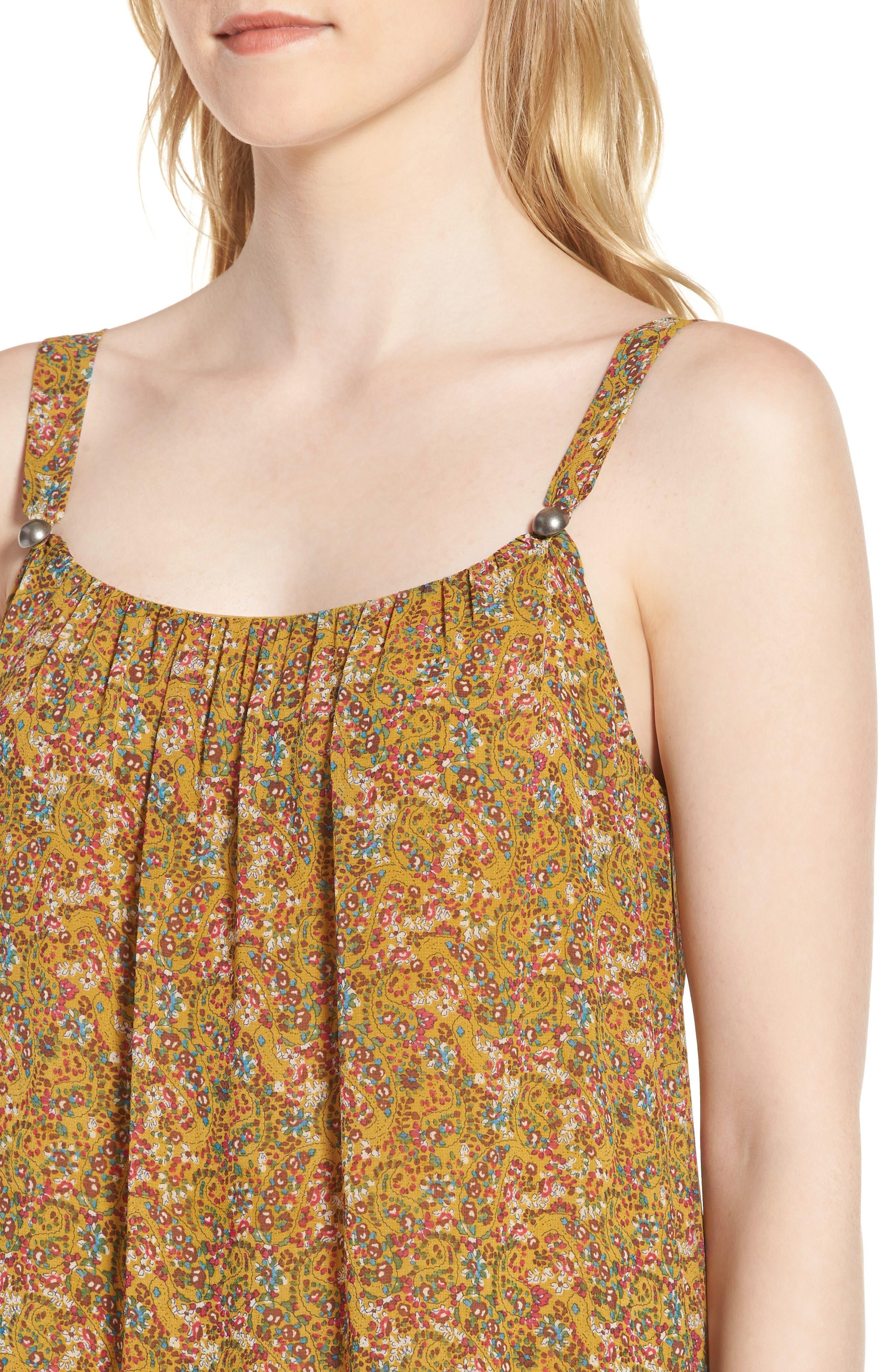 Madison Floral Sundress,                             Alternate thumbnail 4, color,                             Yellow Multi