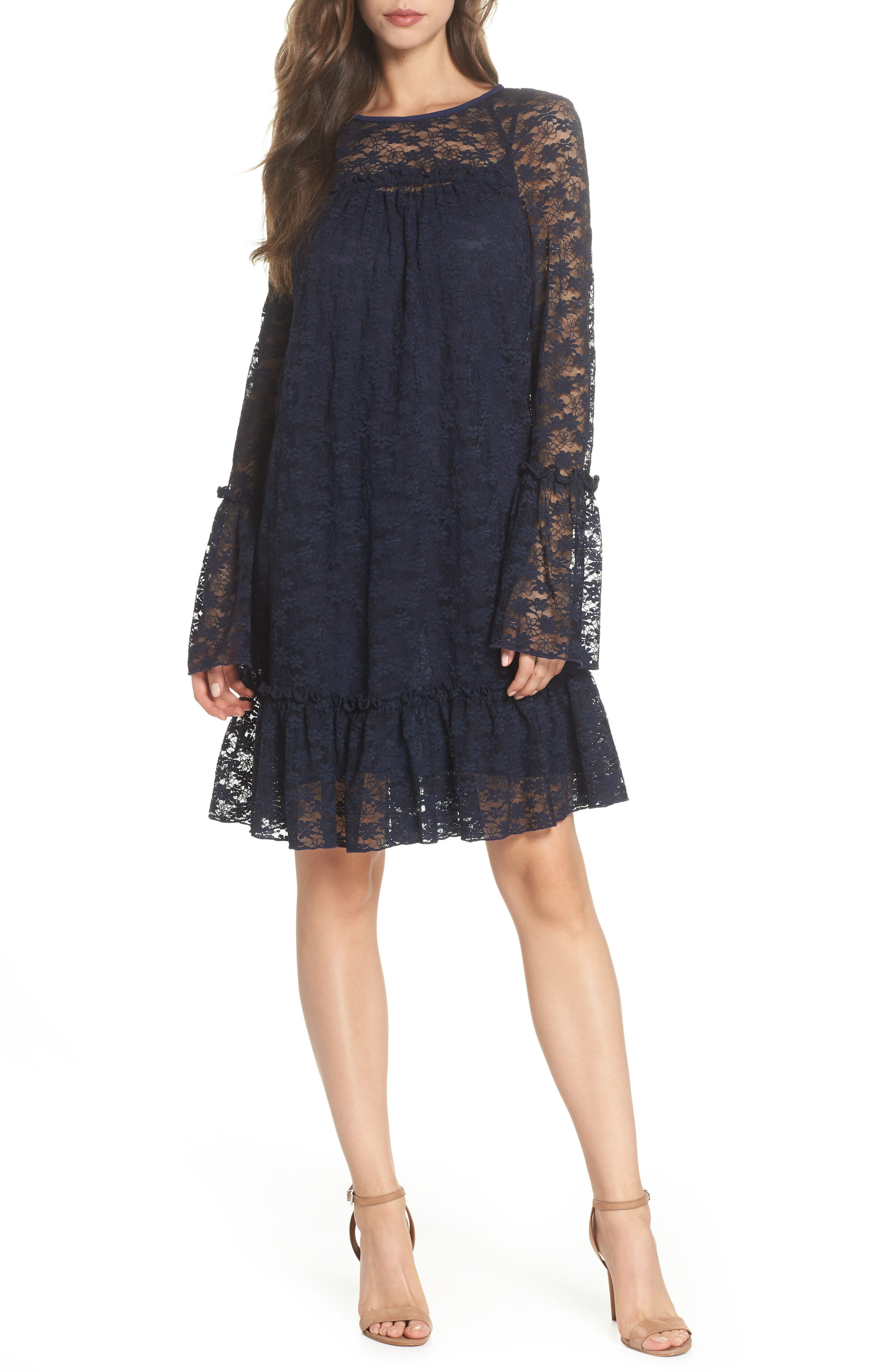 Flare Cuff Lace Dress,                         Main,                         color, True Navy