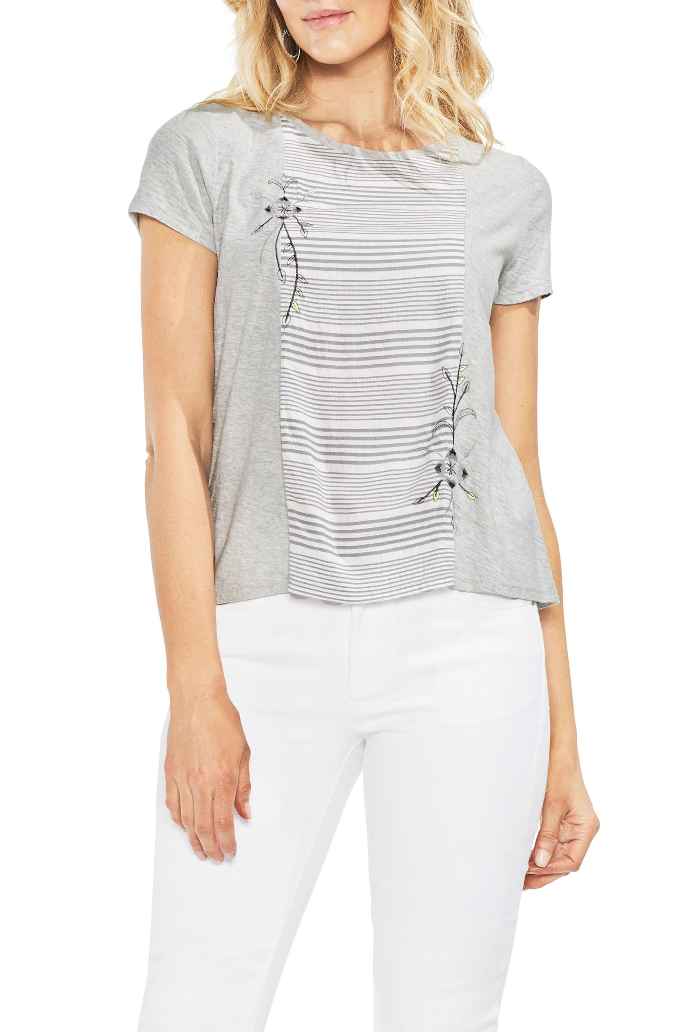 Embroidered Stripe Panel Cotton Tee,                         Main,                         color, Grey Heather