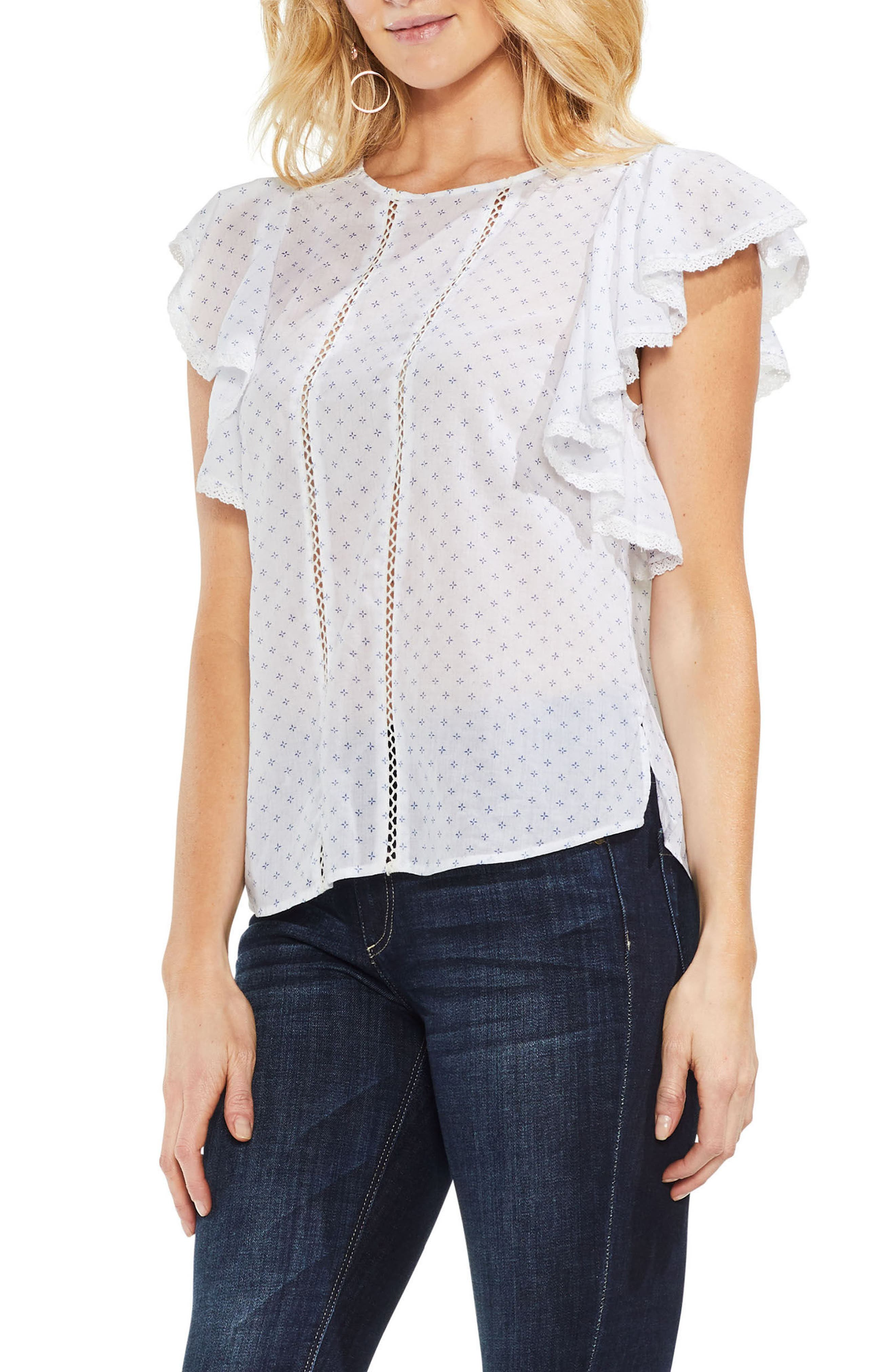 Ruffled Floral Embroidered Top,                             Main thumbnail 1, color,                             Ultra White