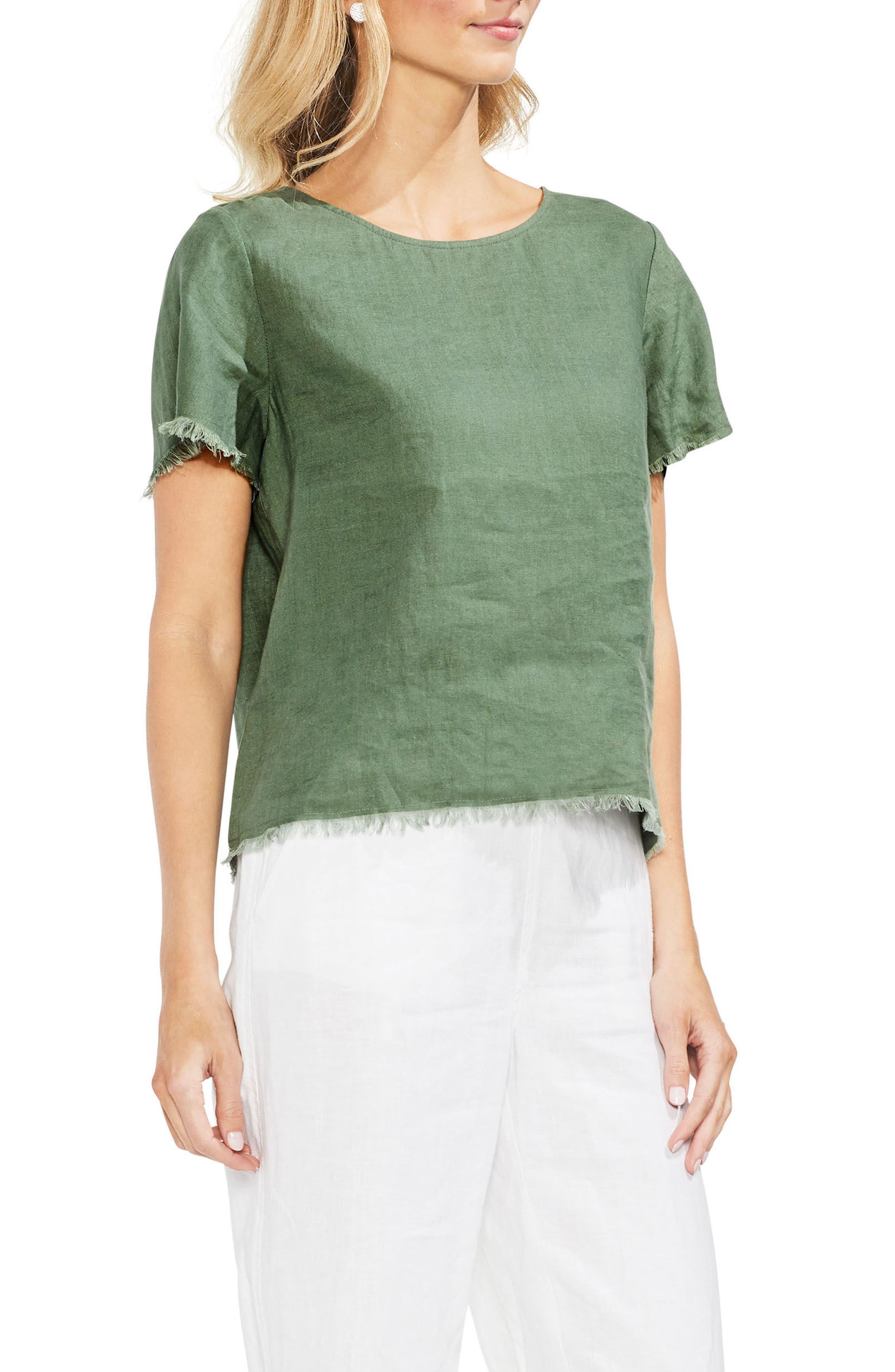 Frayed Edge Linen Tee,                         Main,                         color, Canopy Green