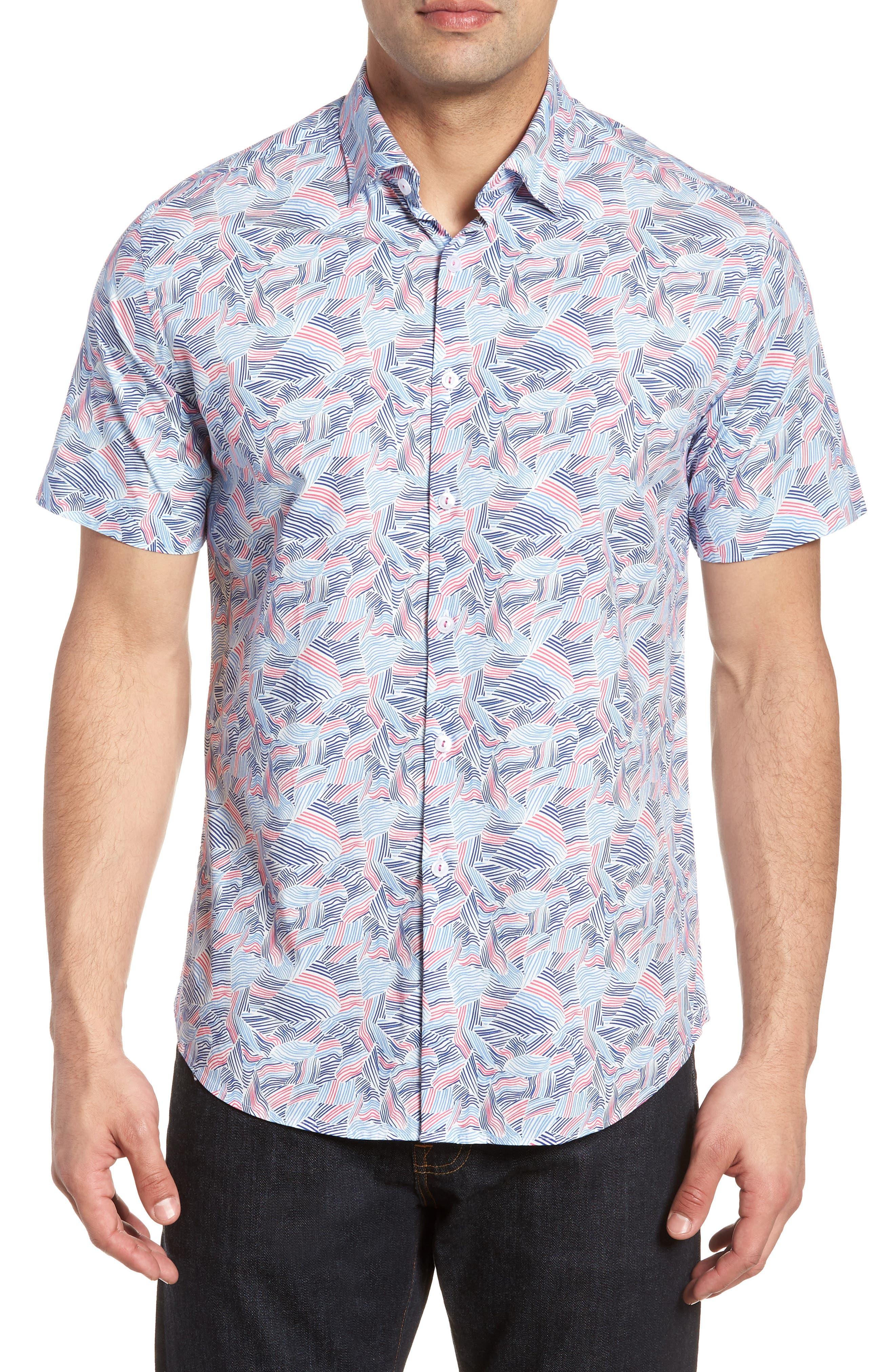 Contemporary Fit Wave Print Sport Shirt,                             Main thumbnail 1, color,                             Pink