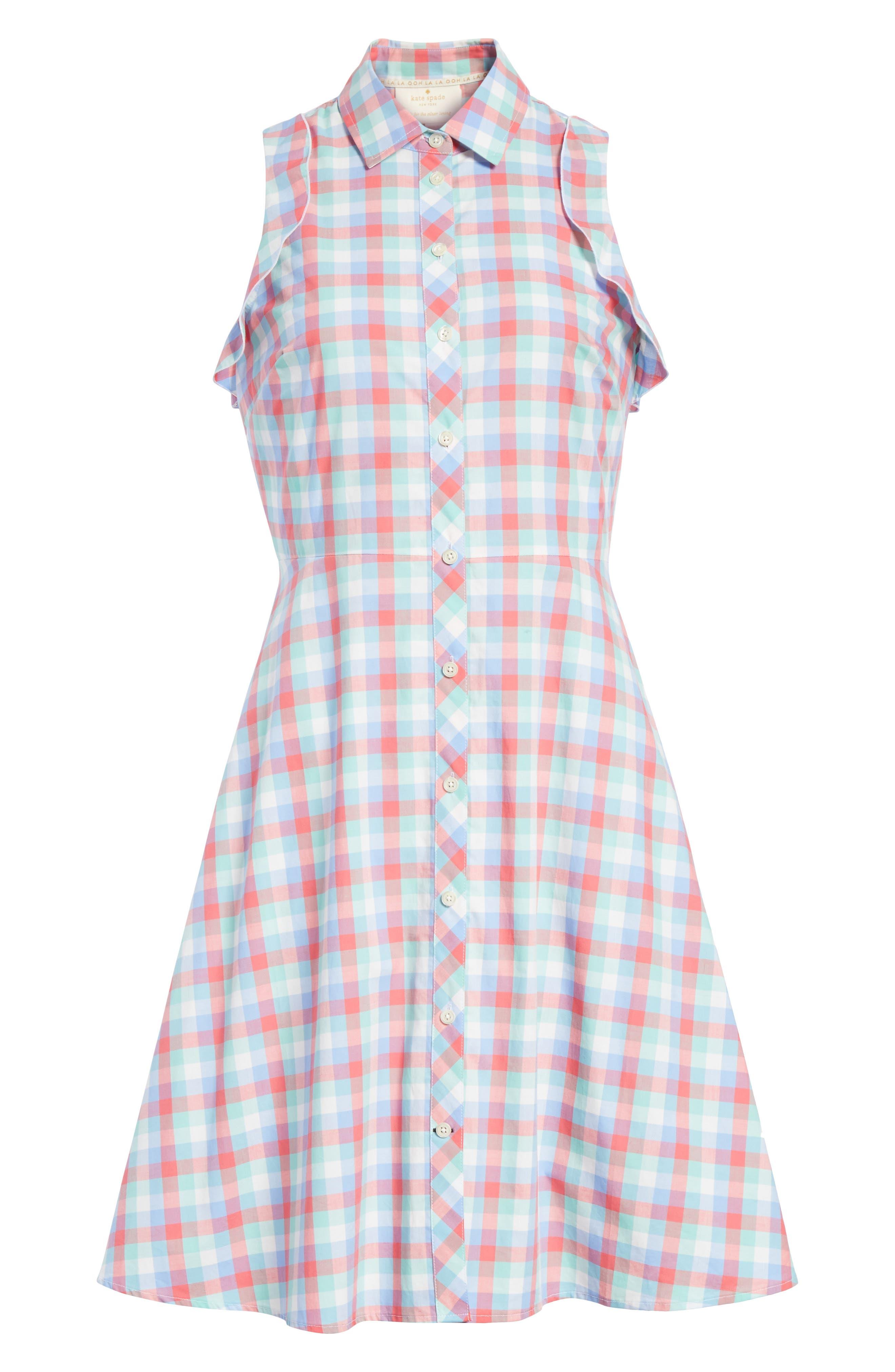 madras poplin shirtdress,                             Alternate thumbnail 6, color,                             Multi