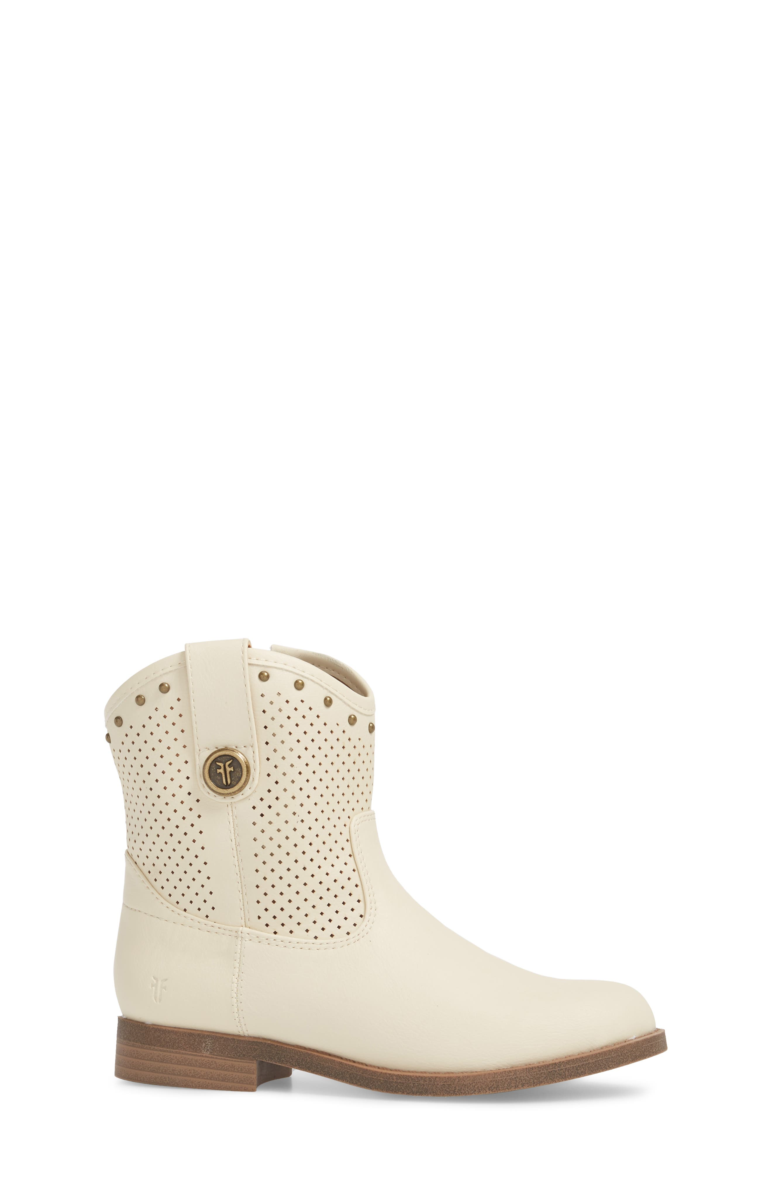 Melissa Perforated Button Boot,                             Alternate thumbnail 3, color,                             White