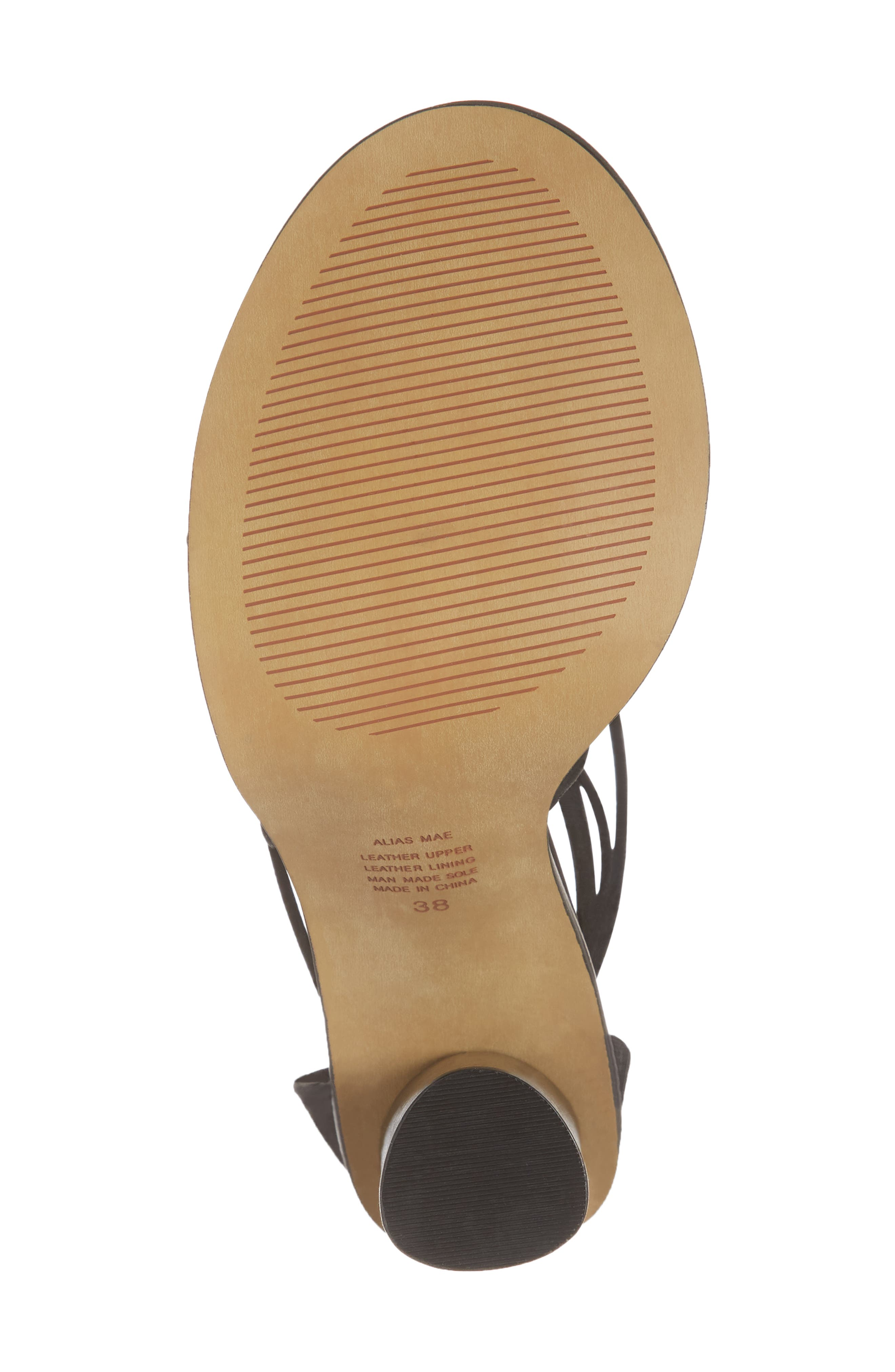 Aflux Tall Strappy Sandal,                             Alternate thumbnail 5, color,                             Black Nubuck Leather