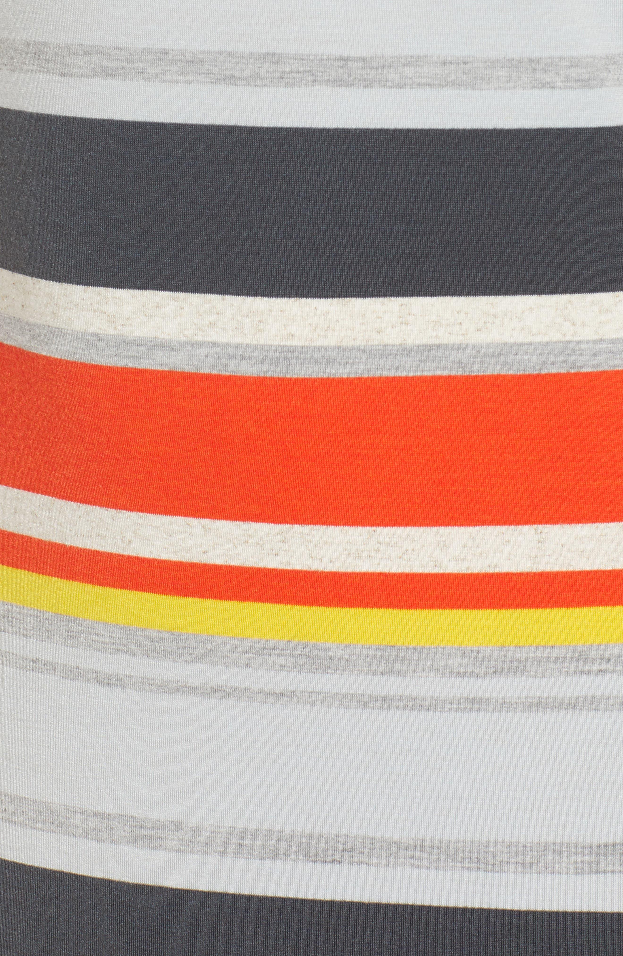 Stripe Midi Dress,                             Alternate thumbnail 6, color,                             Orange Multi