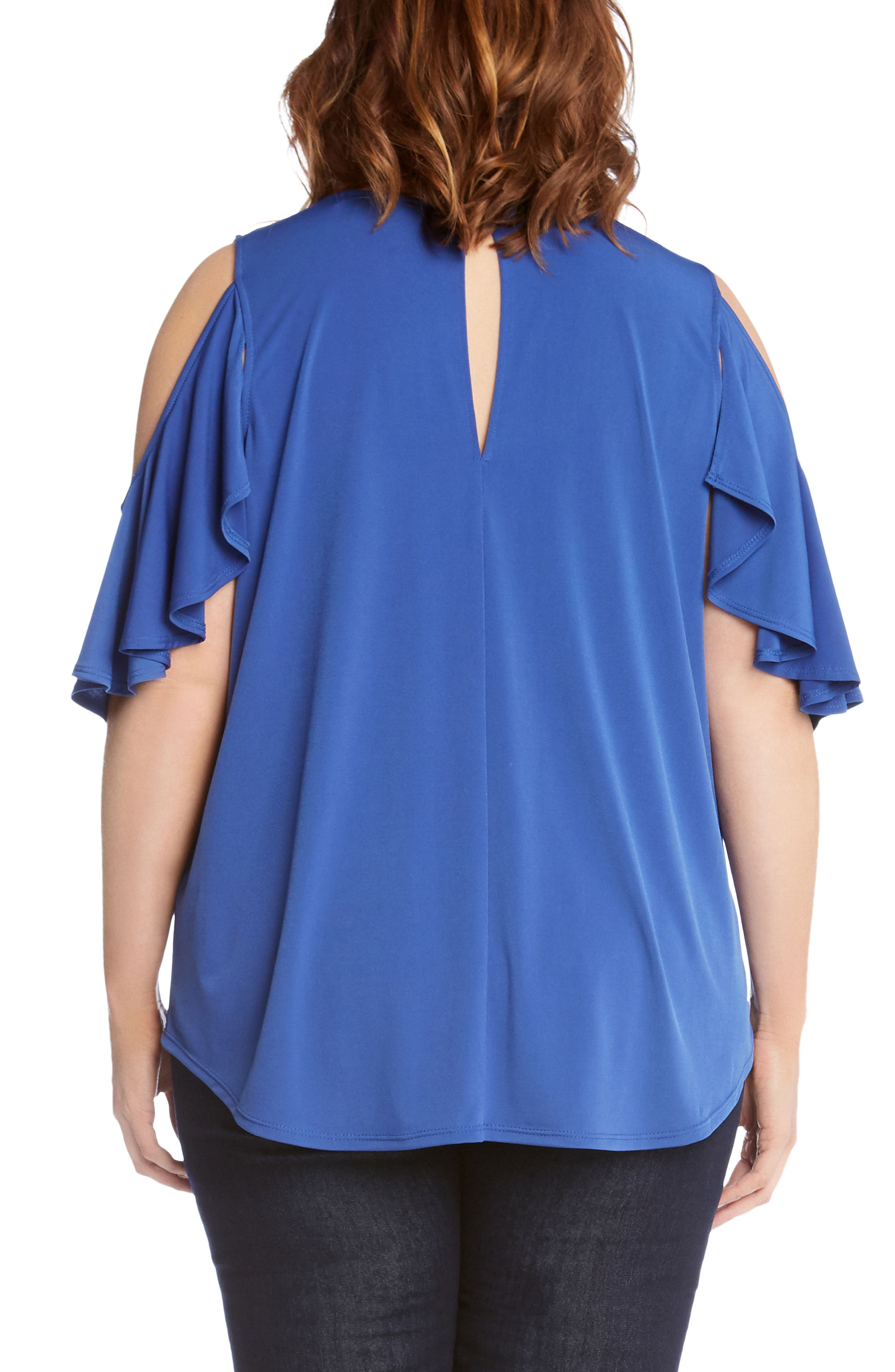 Ruffle Cold Shoulder Top,                             Alternate thumbnail 2, color,                             Iris