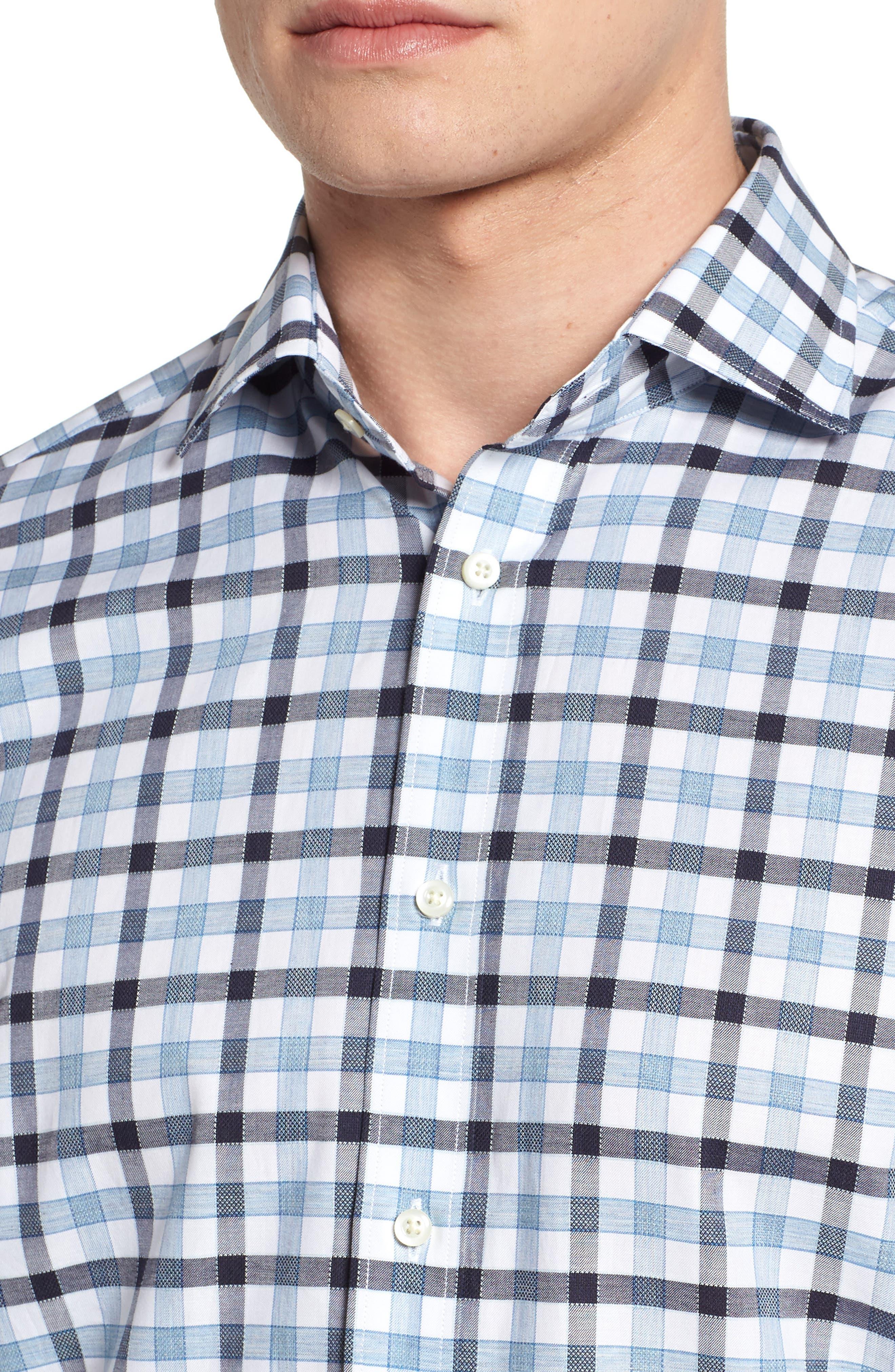 Check Sport Shirt,                             Alternate thumbnail 4, color,                             Blue