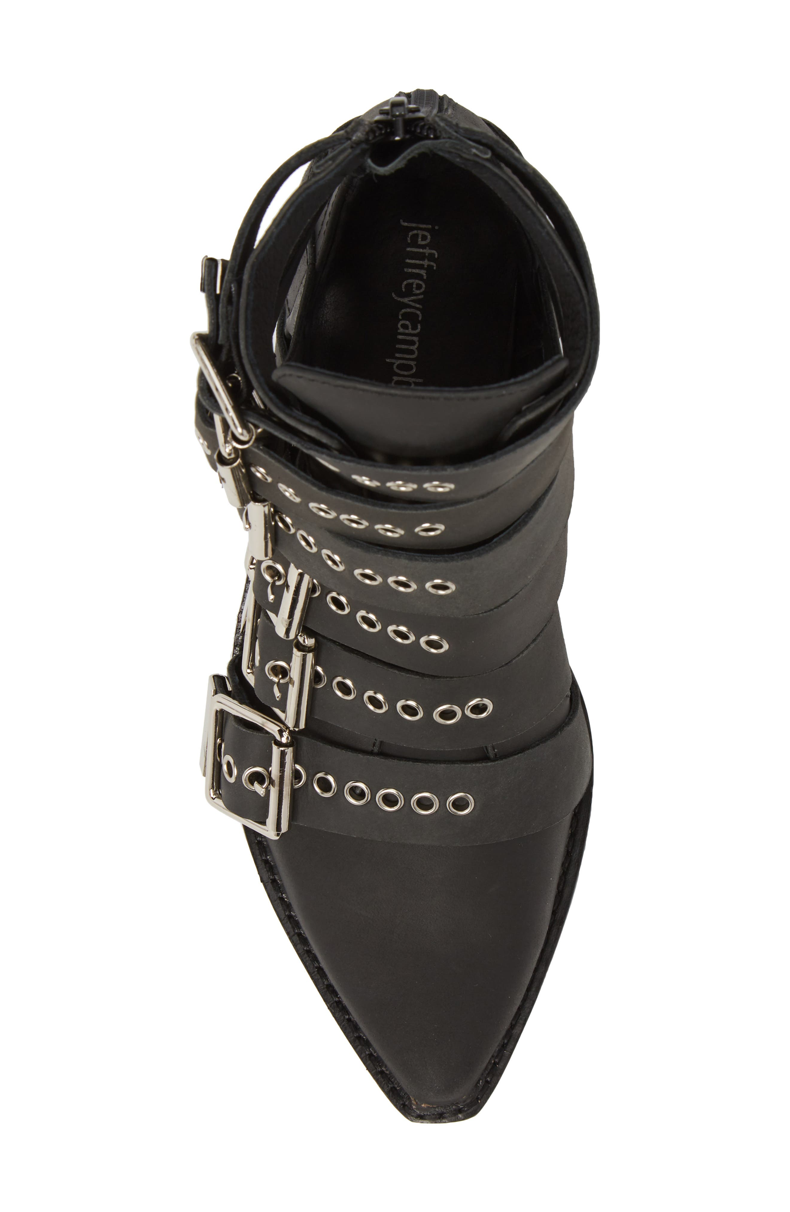 Disturbed Moto Buckle Bootie,                             Alternate thumbnail 5, color,                             Black Washed