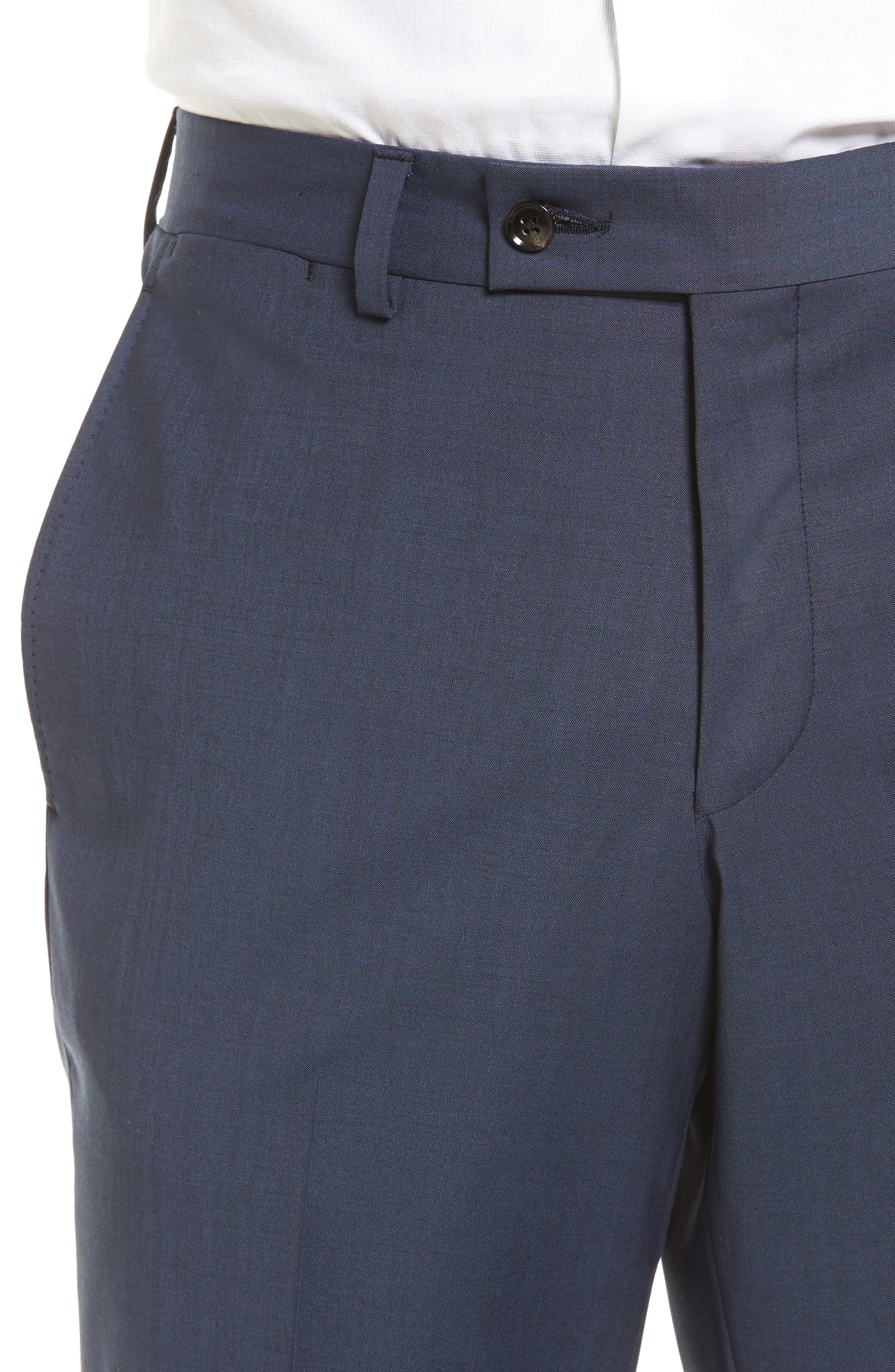 Jefferson Flat Front Stretch Wool Trousers,                             Alternate thumbnail 4, color,                             Blue