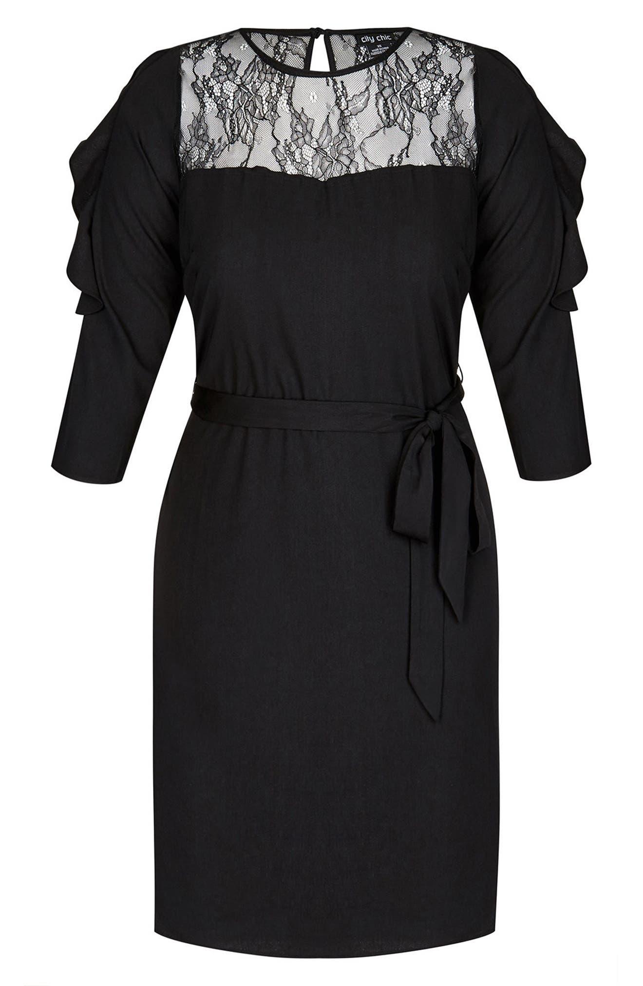 Fancy Frill Lace Detail A-Line Dress,                             Alternate thumbnail 3, color,                             Black
