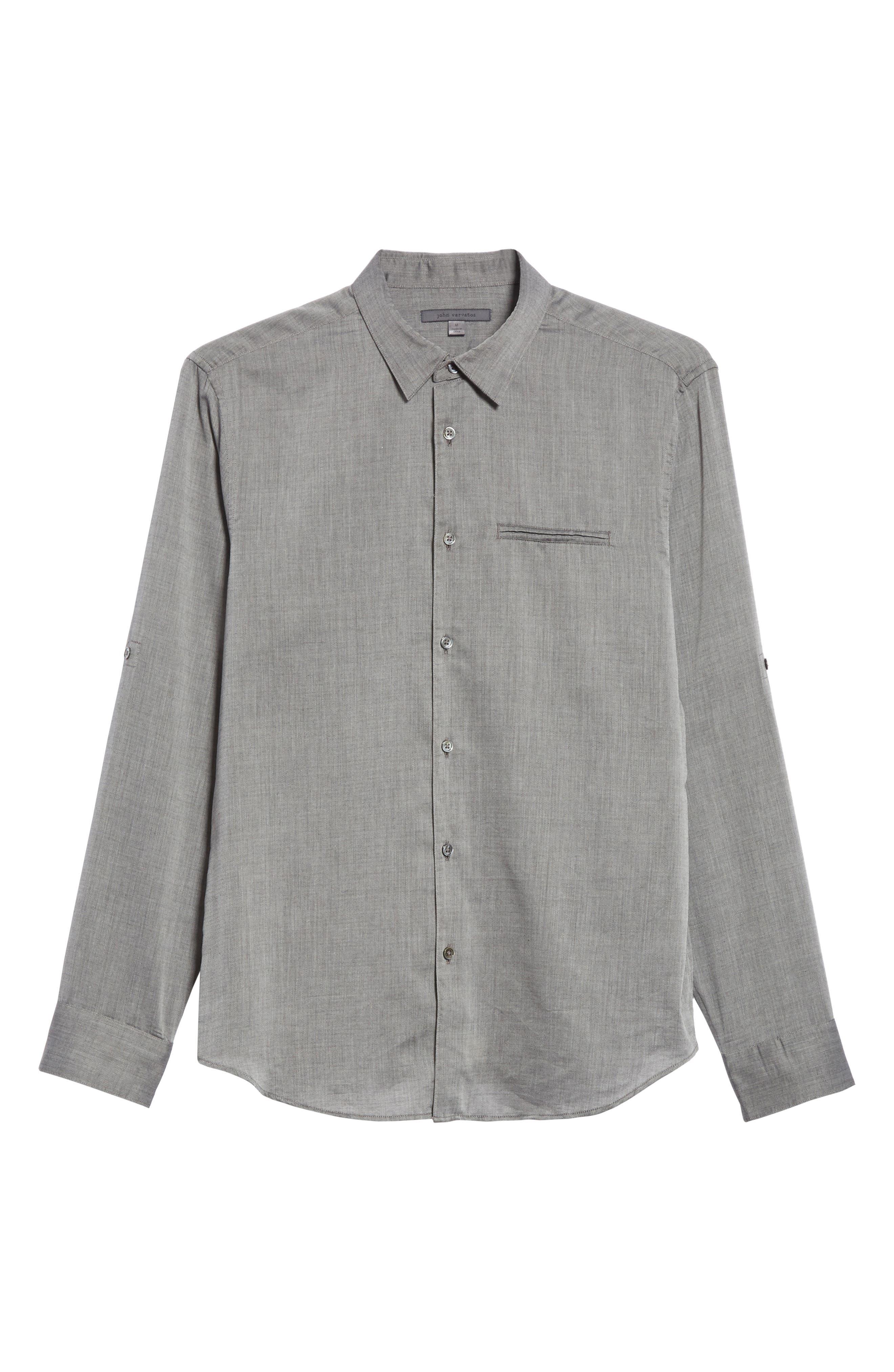 Slim Fit Roller Long Sleeve Shirt,                             Alternate thumbnail 6, color,                             Grey Hthr