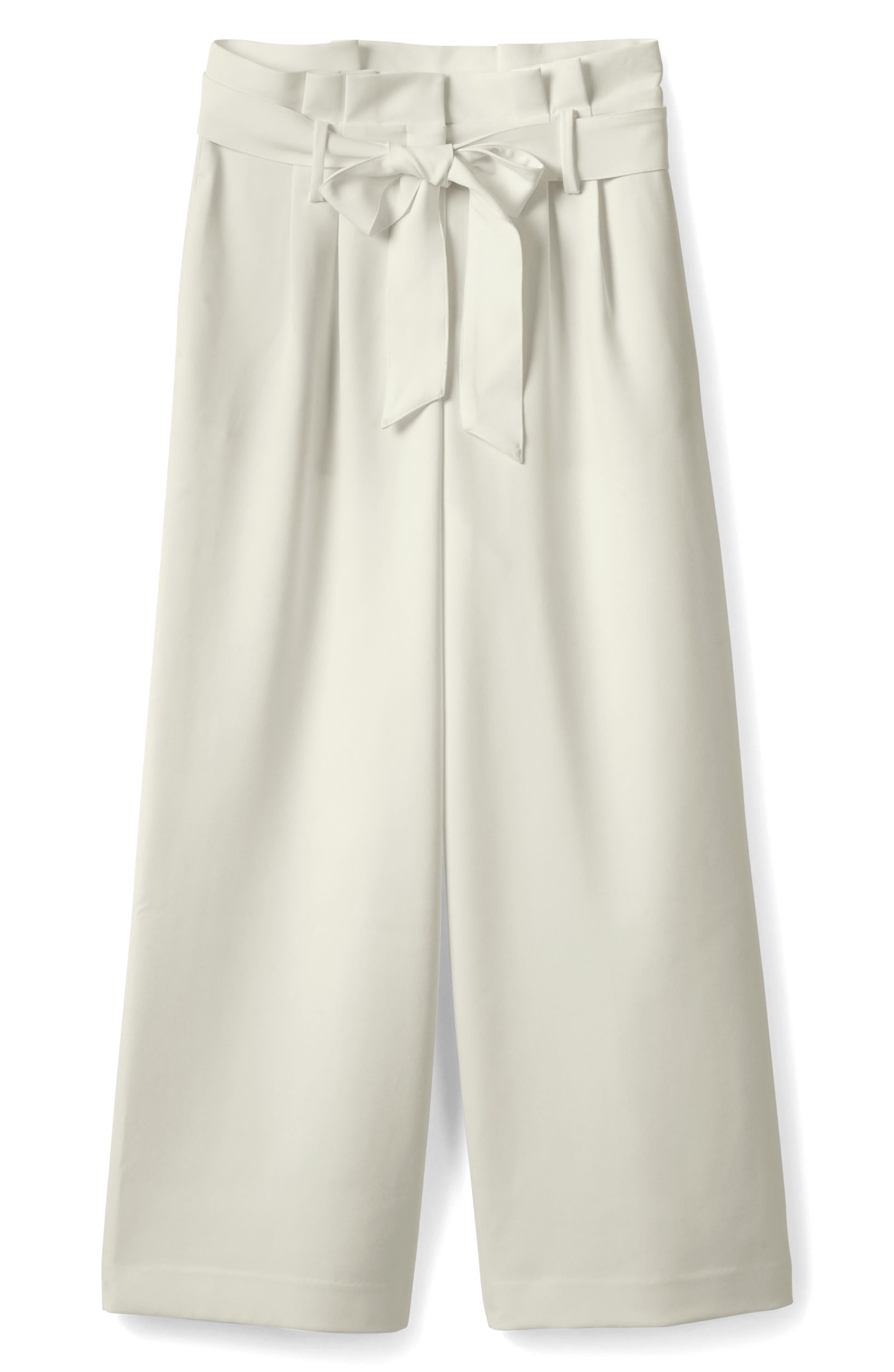 Paperbag Waist Wide Leg Pants,                             Main thumbnail 1, color,                             Ivory