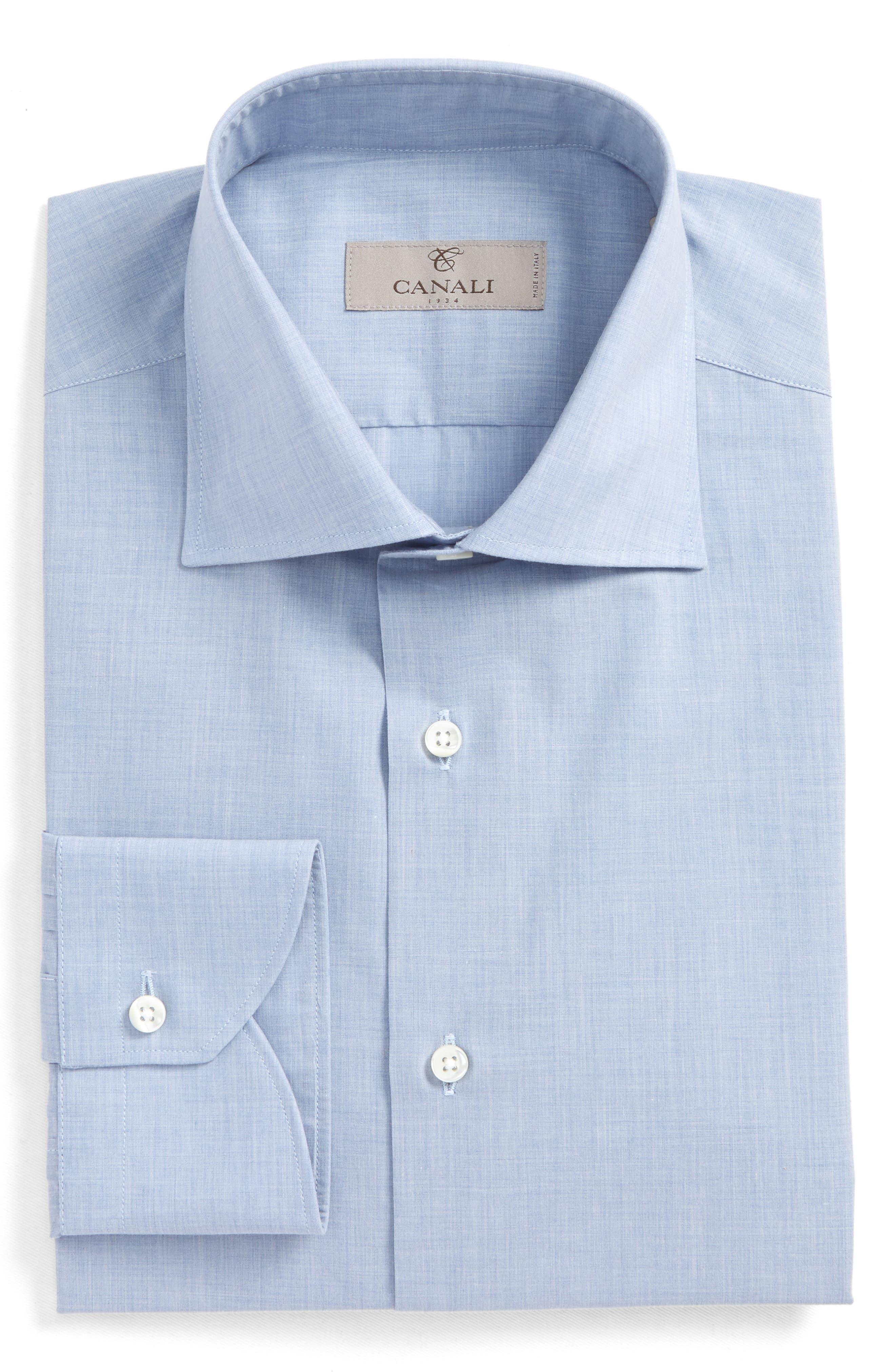 Regular Fit Solid Dress Shirt,                         Main,                         color, Med Blue