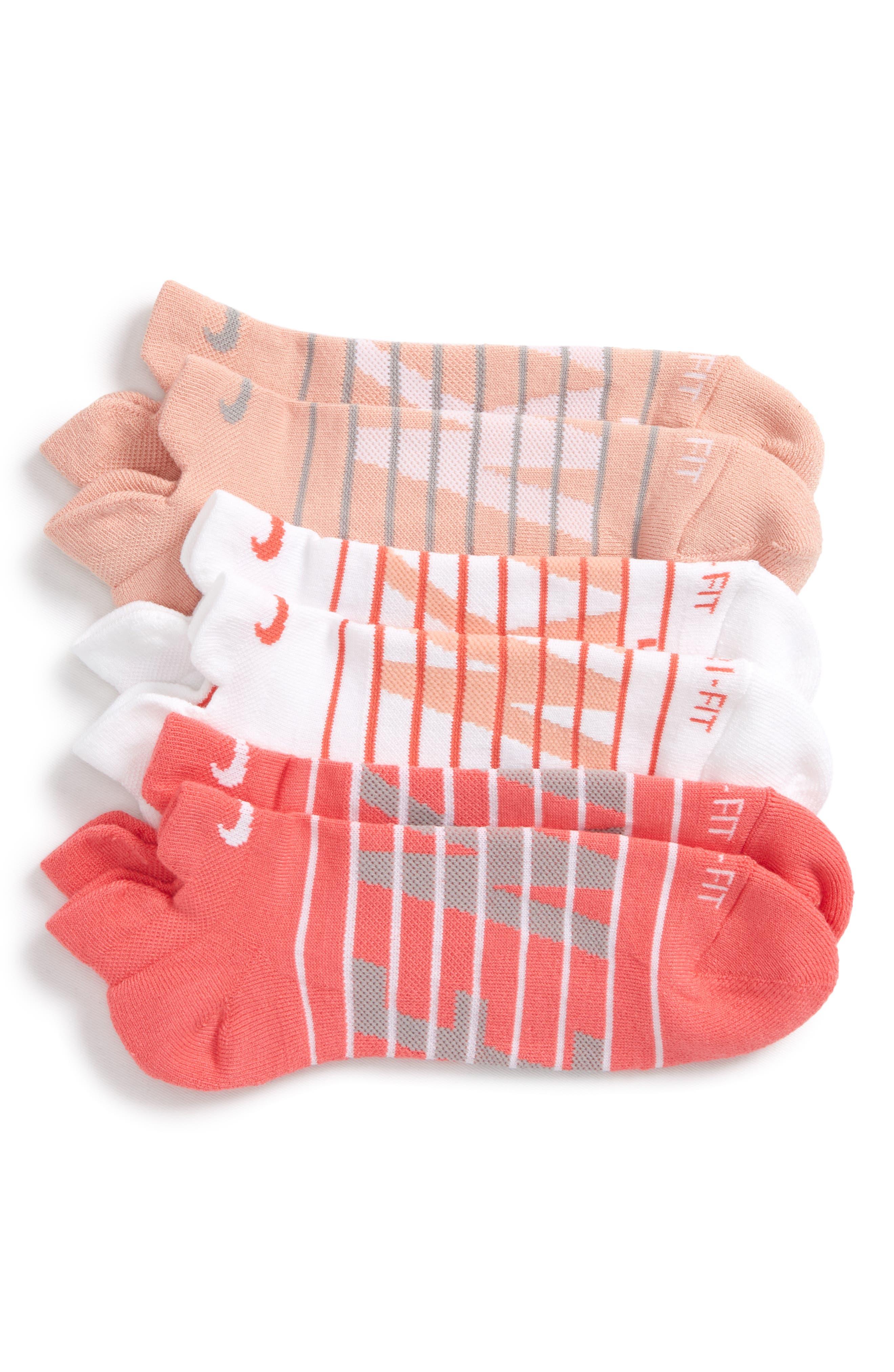 Dry Cushion 3-Pack Low-Cut Socks,                             Main thumbnail 1, color,                             Coral Multi