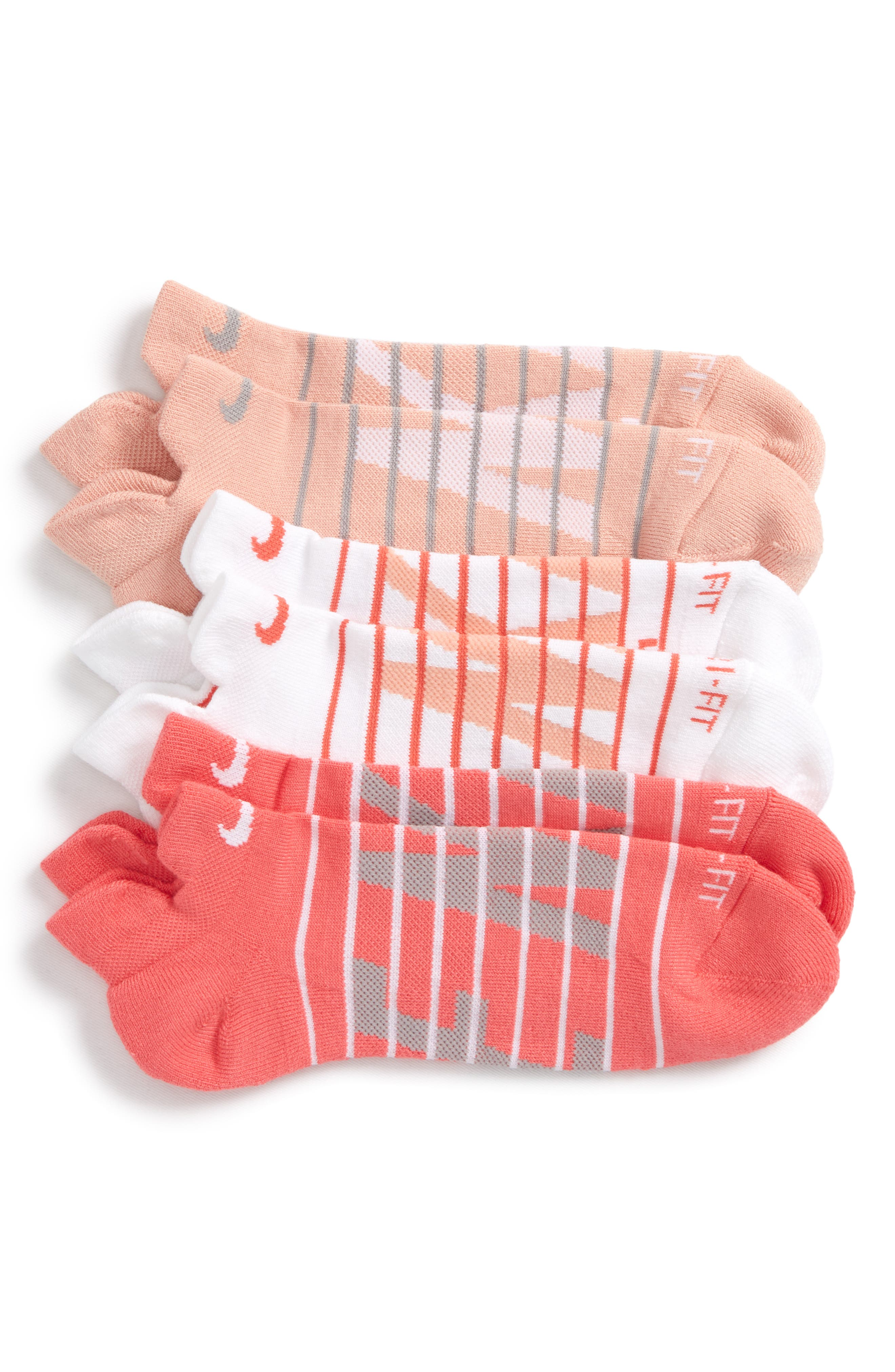 Dry Cushion 3-Pack Low-Cut Socks,                         Main,                         color, Coral Multi