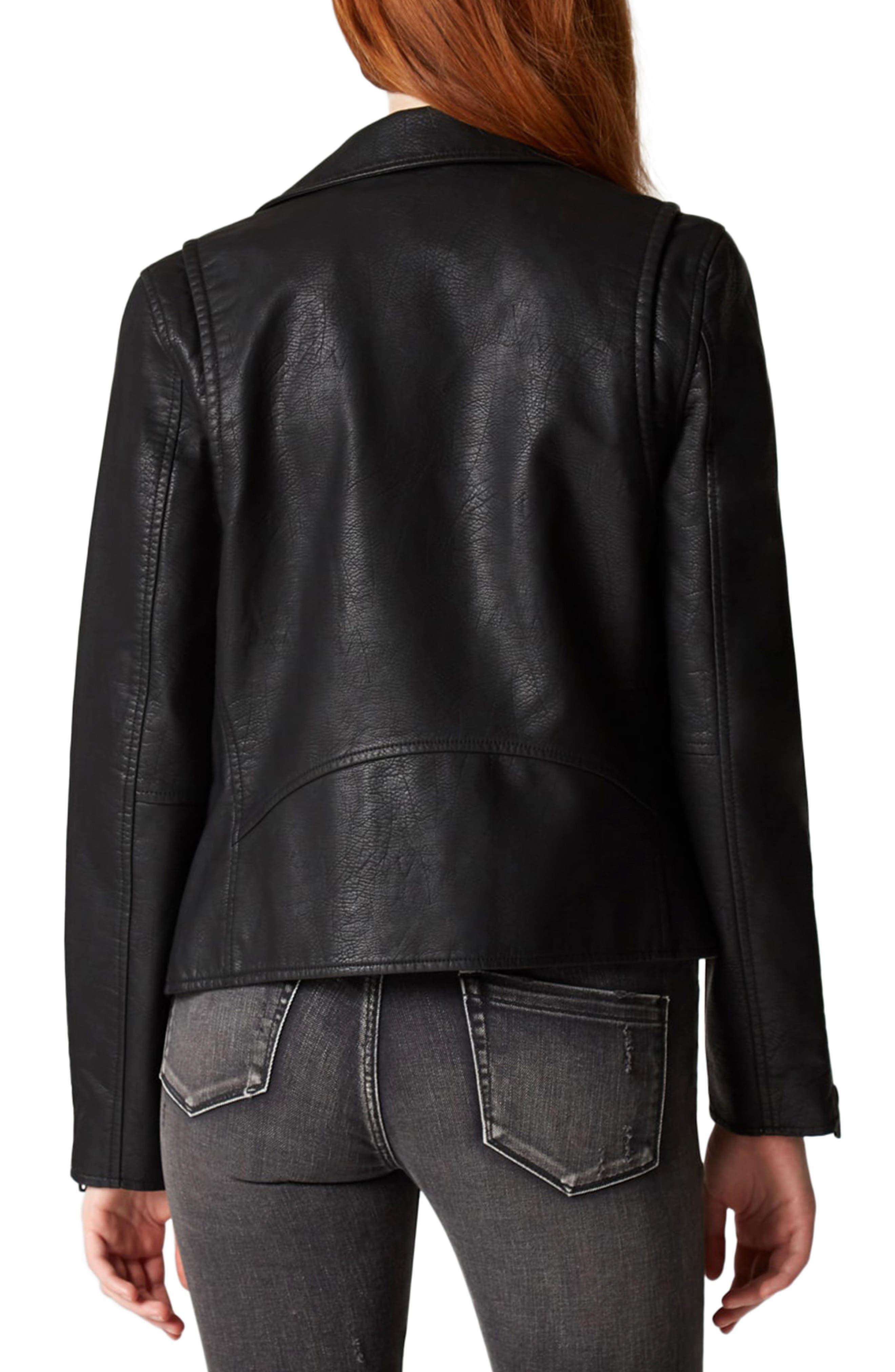 Faux Leather Moto Jacket,                             Alternate thumbnail 3, color,                             Onyx