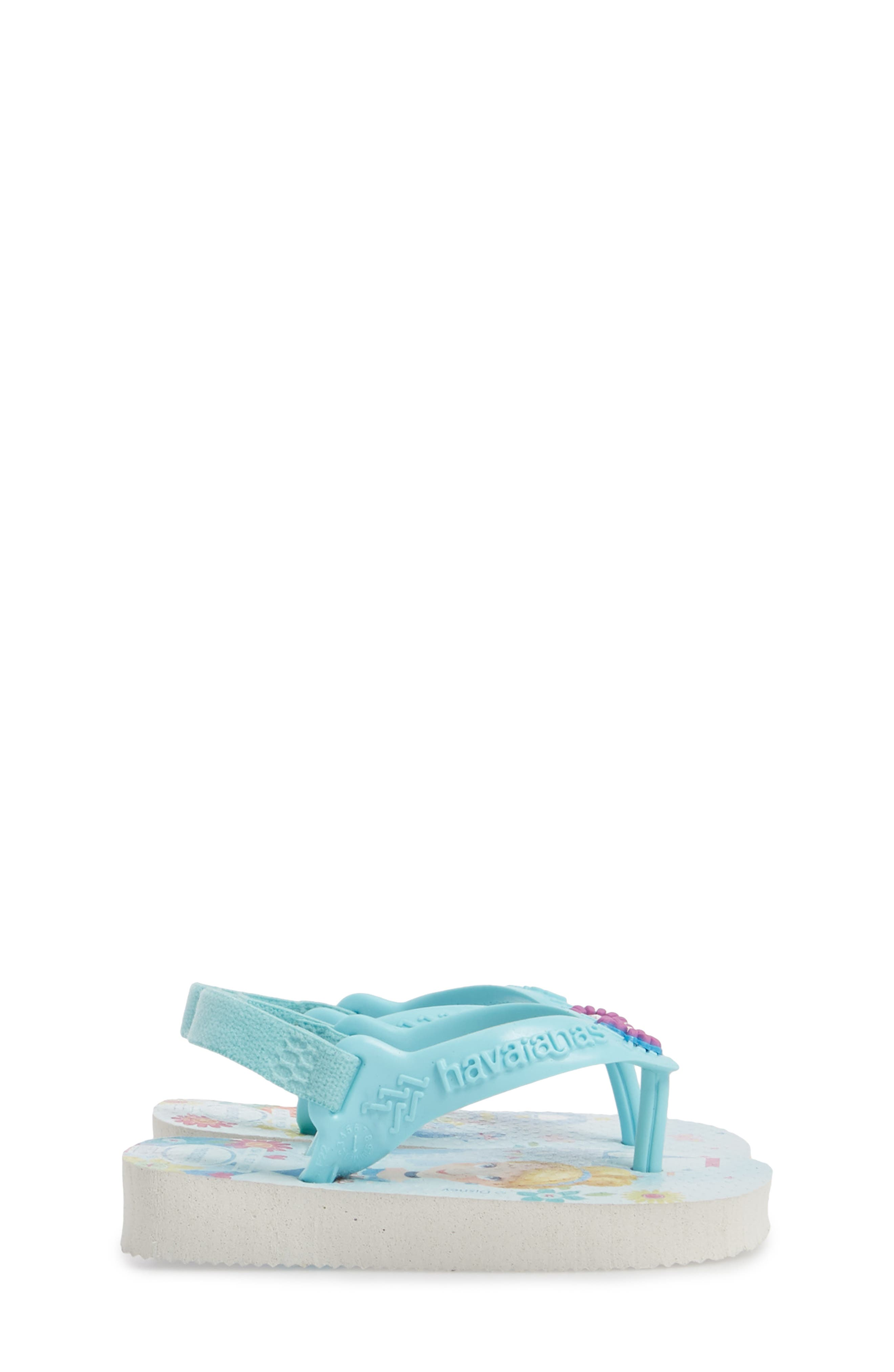 Baby Disney<sup>®</sup> Princess Flip Flop,                             Alternate thumbnail 4, color,                             White/ Ice Blue