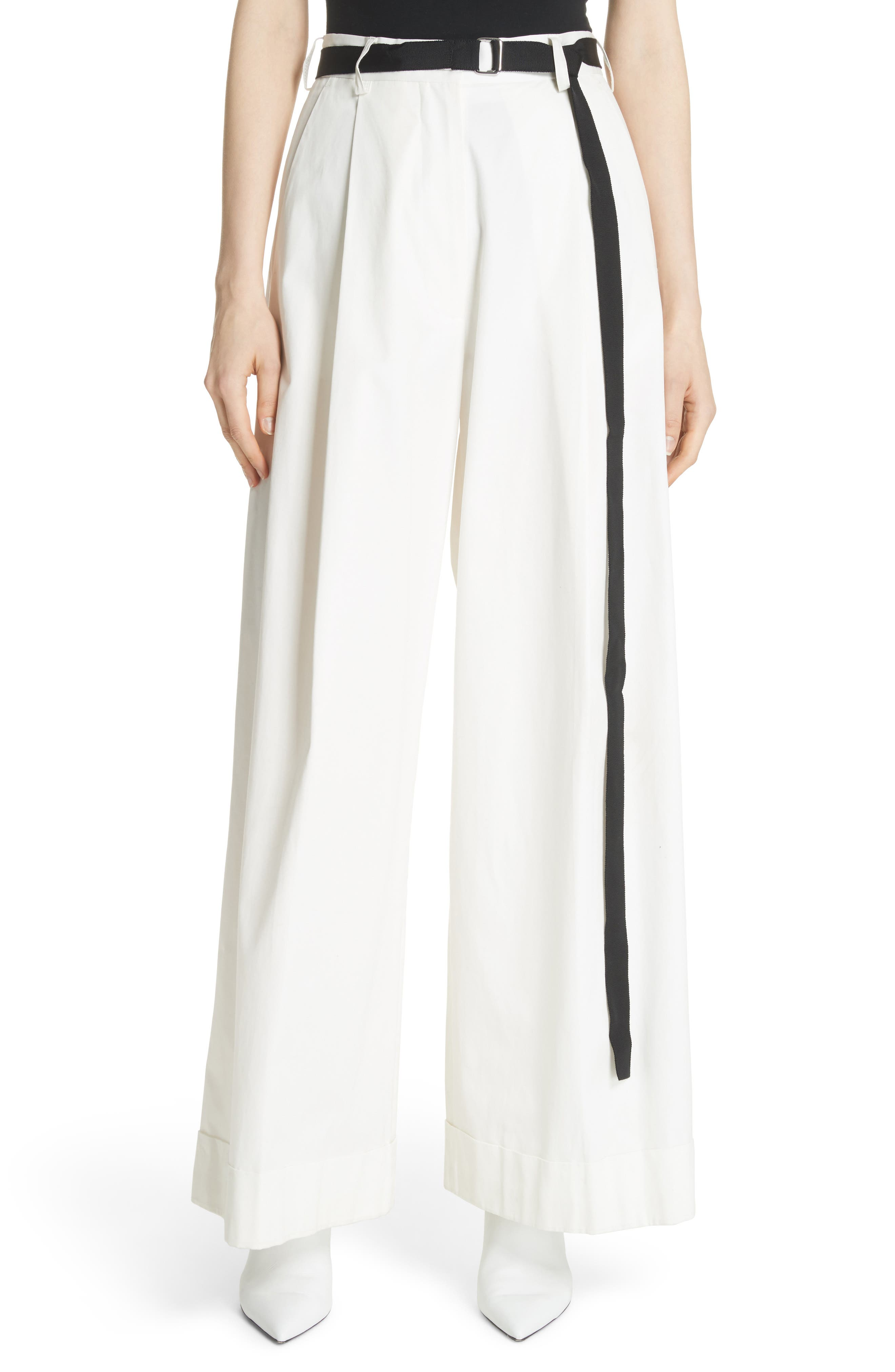 High Waist Wide Leg Pants,                             Main thumbnail 1, color,                             Ivory