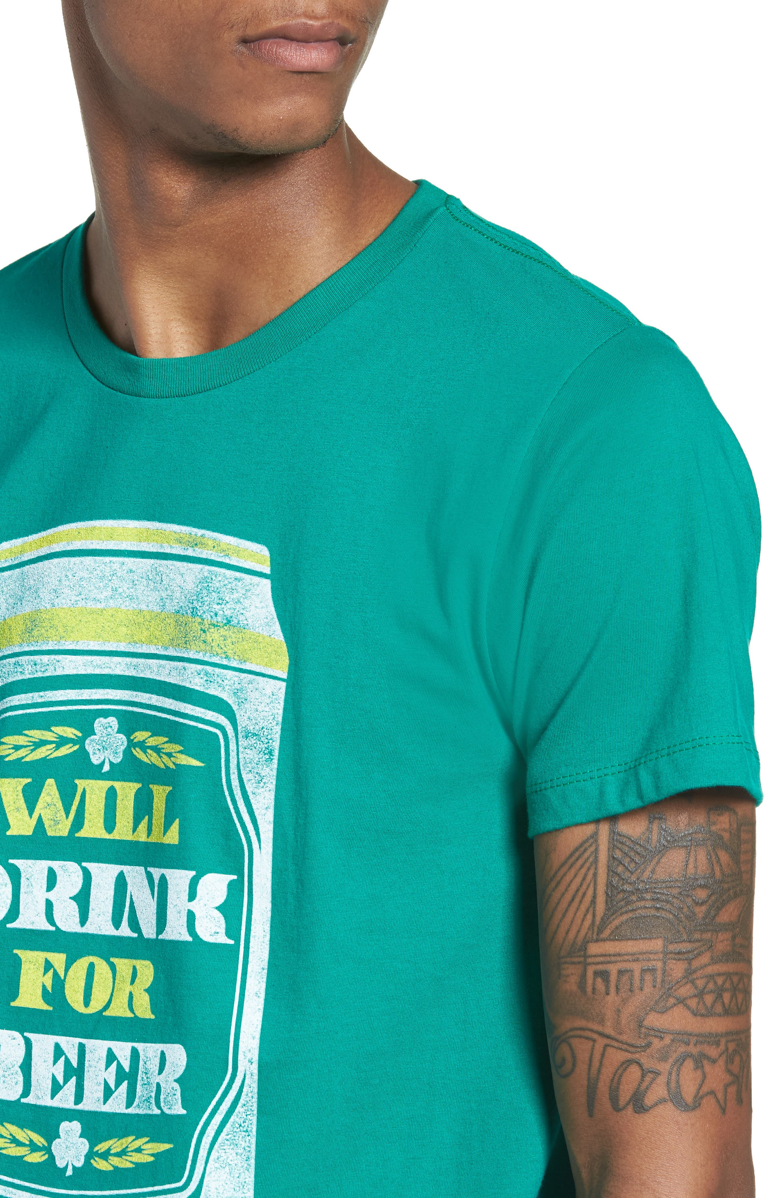 Will Drink for Beer Graphic T-Shirt,                             Alternate thumbnail 4, color,                             Green Drink Beer