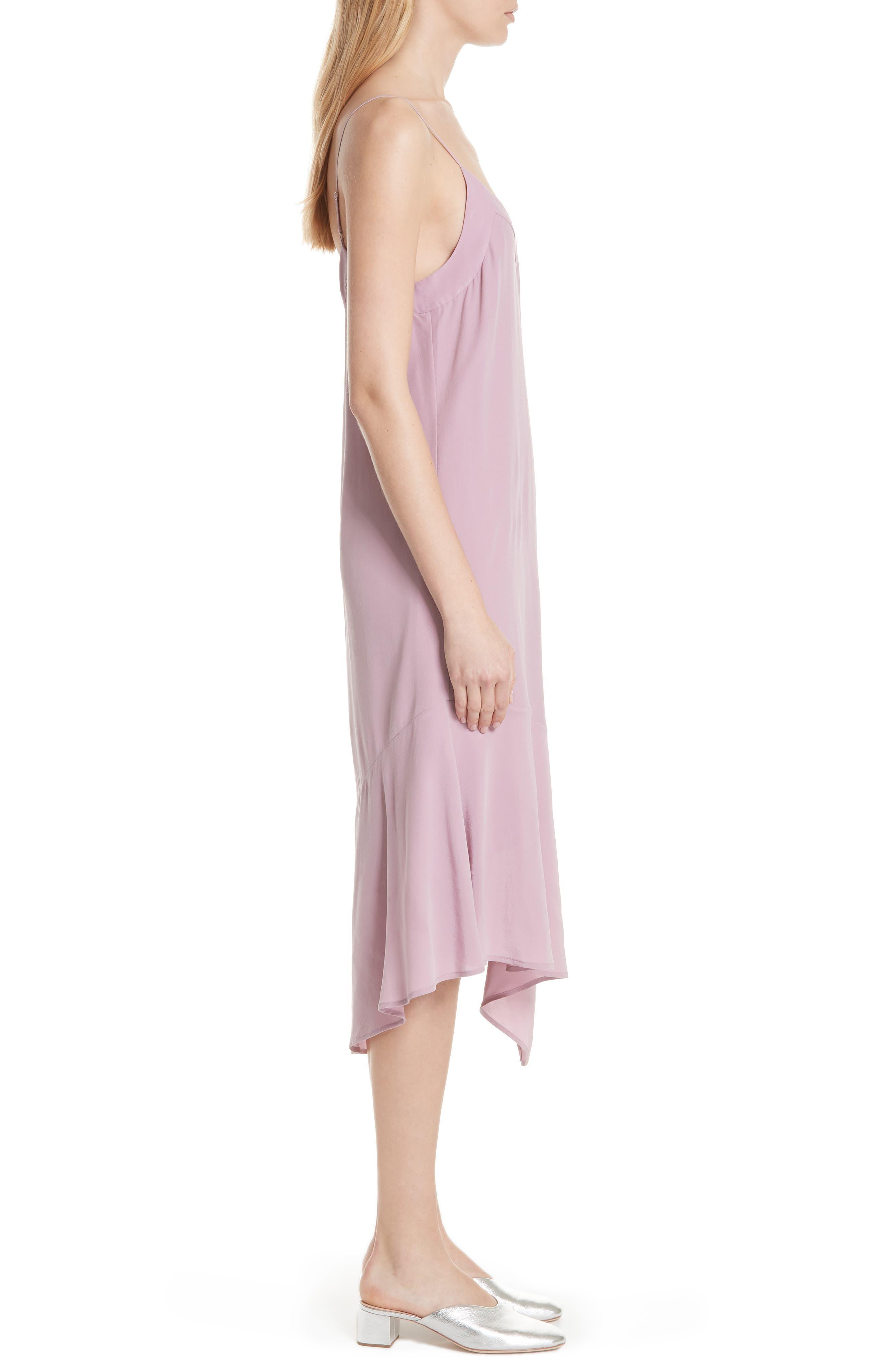 Jada Asymmetrical Silk Slip Dress,                             Alternate thumbnail 3, color,                             Orchid Smoke