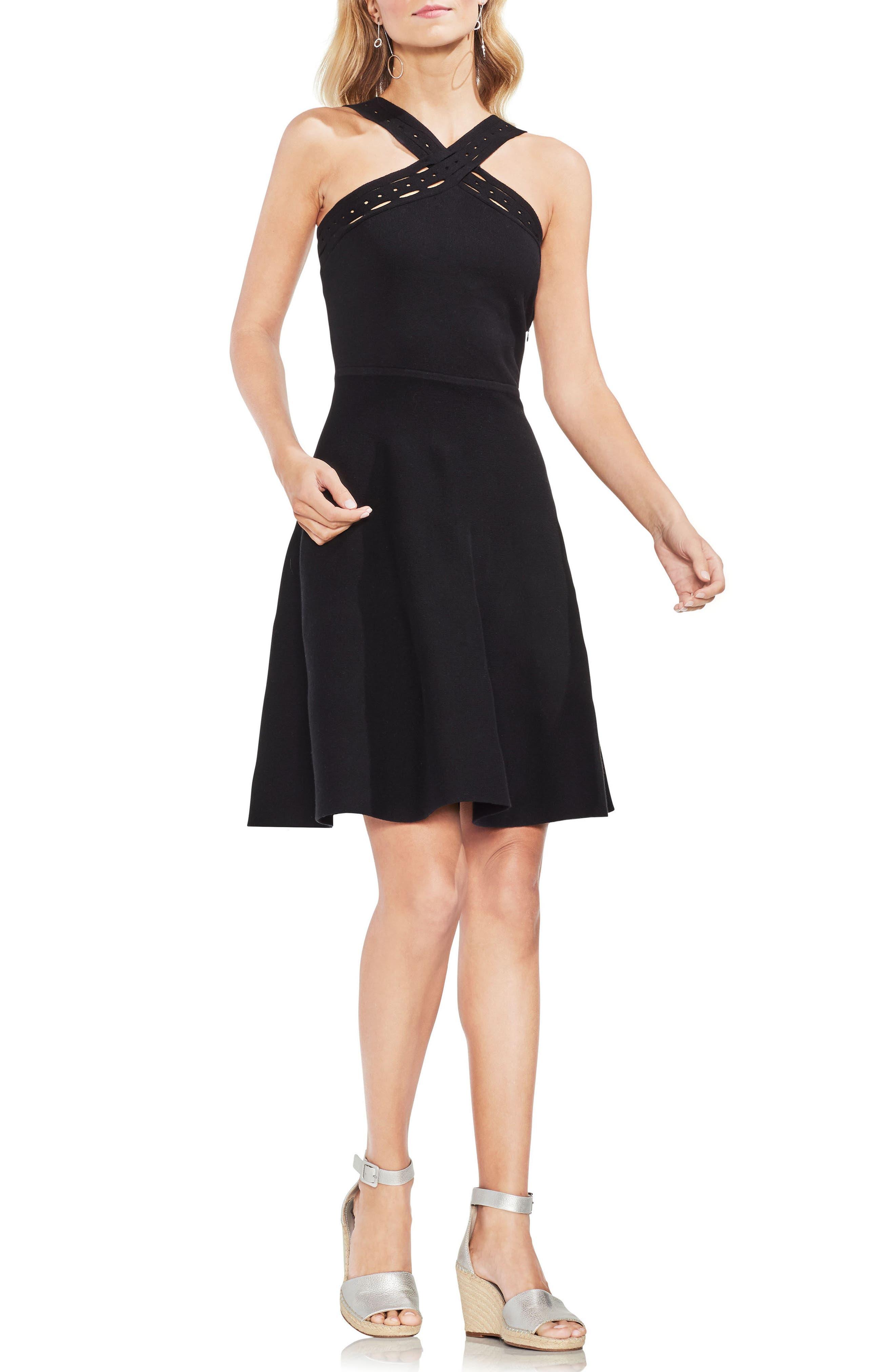 Crisscross Fit & Flare Sweater Dress,                             Main thumbnail 1, color,                             Rich Black