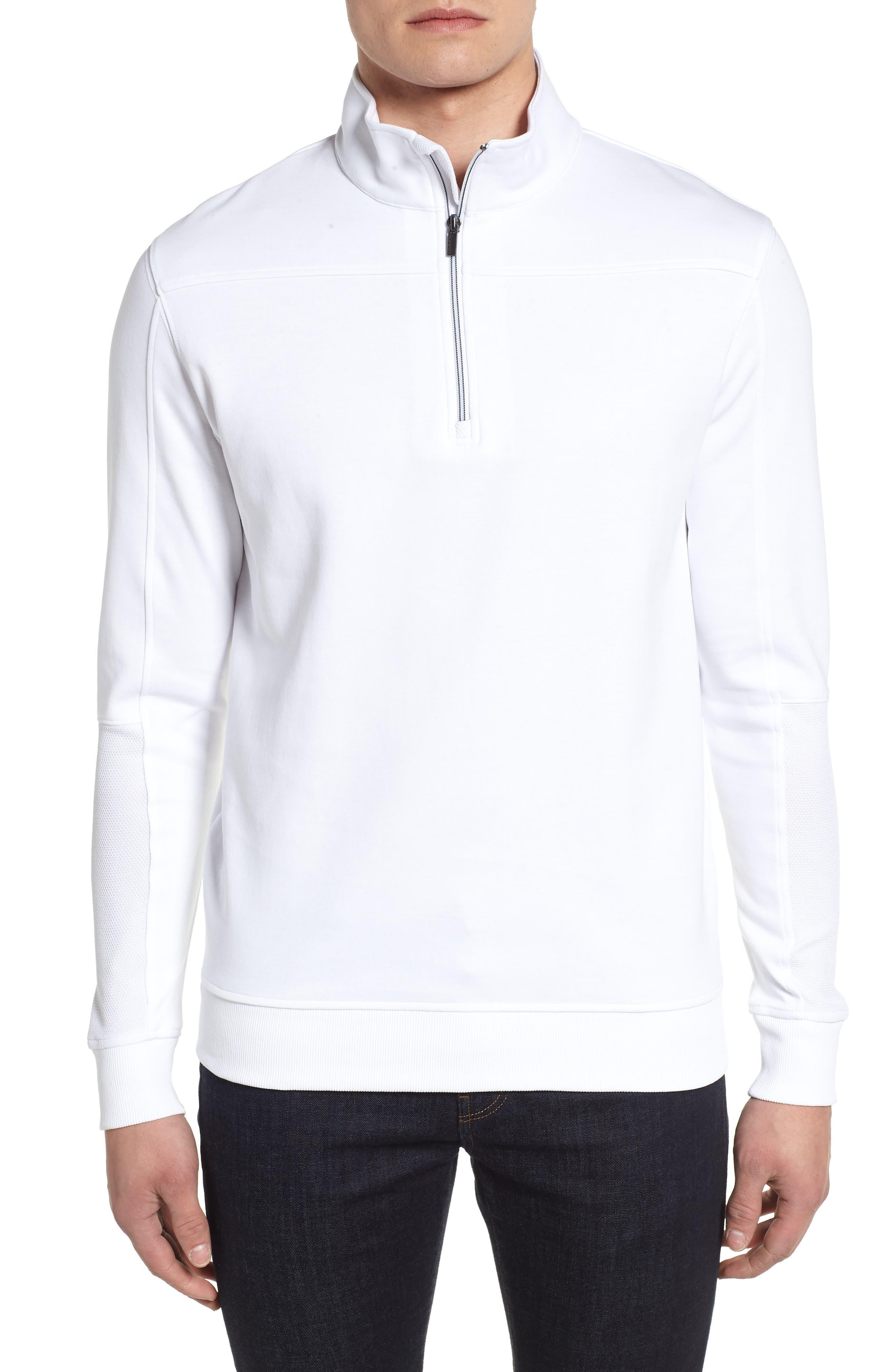Regular Fit Knit Quarter Zip Pullover,                             Main thumbnail 1, color,                             White
