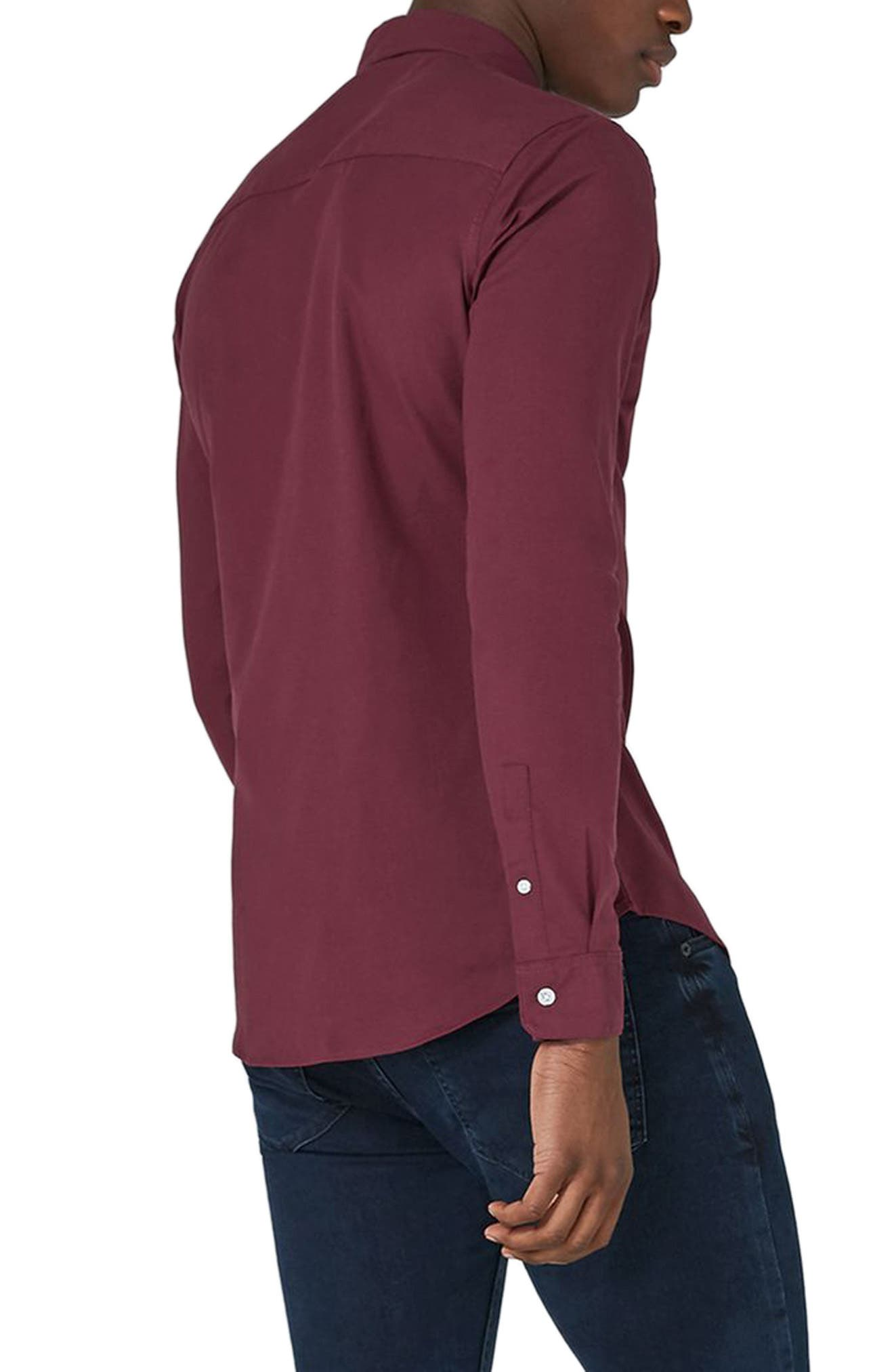 Muscle Fit Oxford Shirt,                             Alternate thumbnail 2, color,                             Burgundy