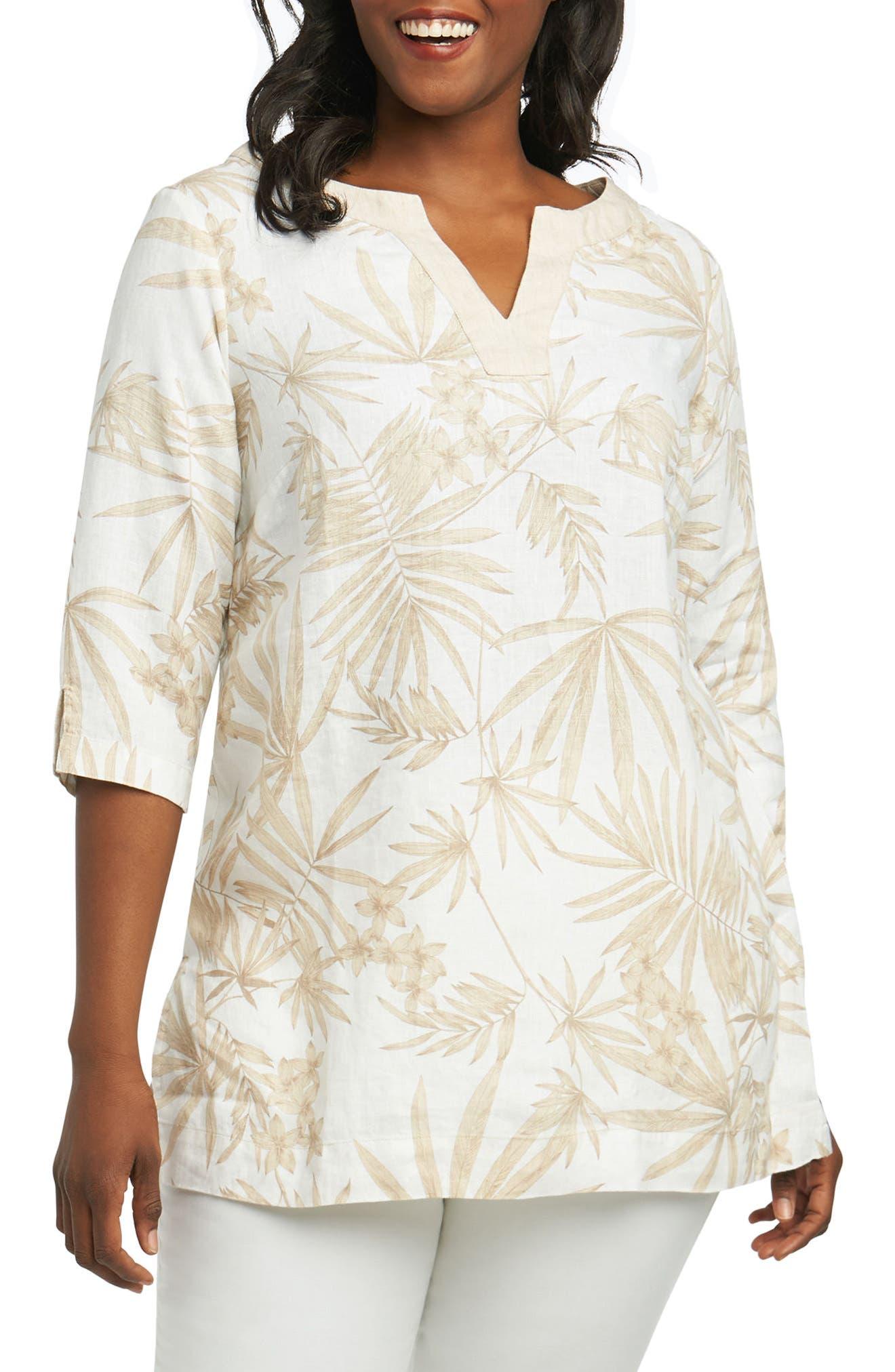 Foxcroft Toni Palm Linen Shirt (Plus Size)
